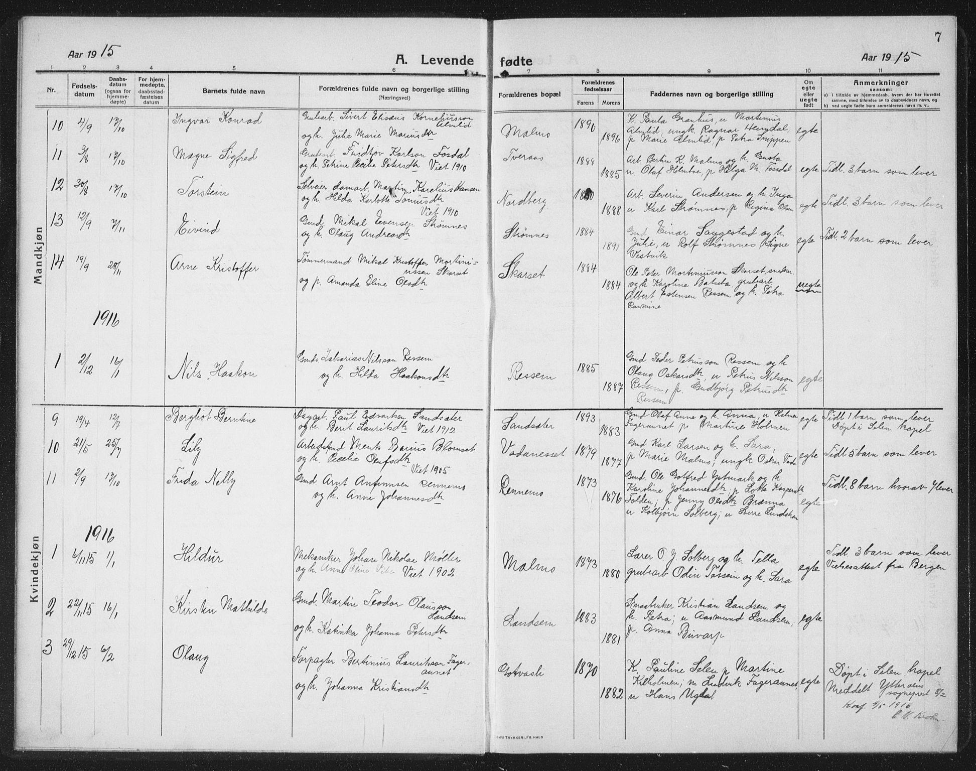 SAT, Ministerialprotokoller, klokkerbøker og fødselsregistre - Nord-Trøndelag, 745/L0434: Klokkerbok nr. 745C03, 1914-1937, s. 7