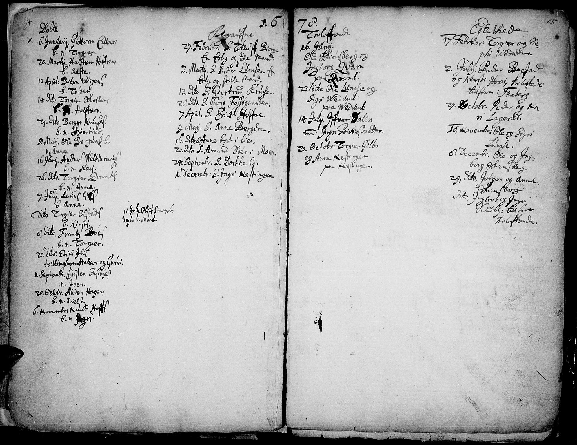 SAH, Øyer prestekontor, Ministerialbok nr. 1, 1671-1727, s. 14-15