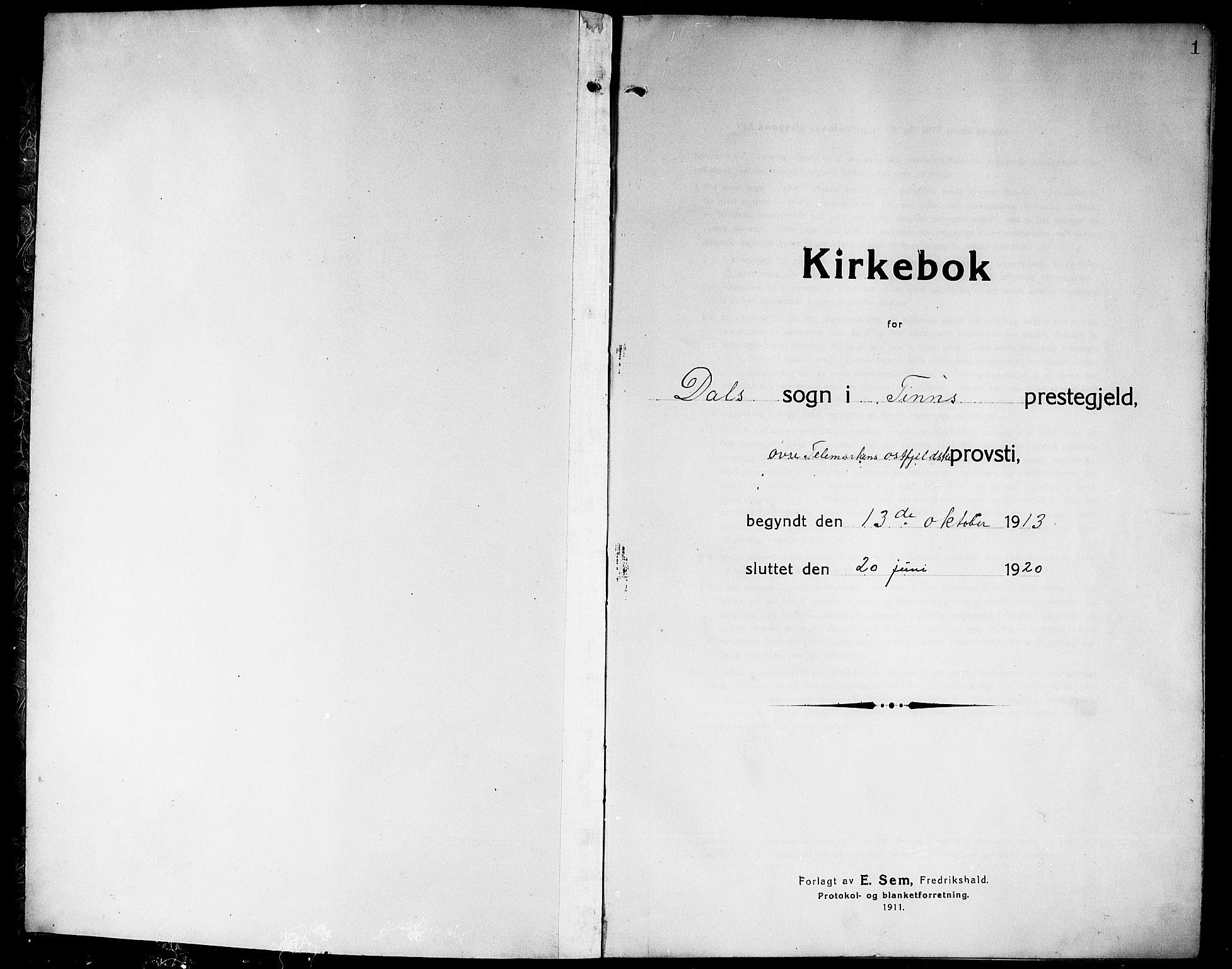 SAKO, Rjukan kirkebøker, G/Ga/L0002: Klokkerbok nr. 2, 1913-1920, s. 1