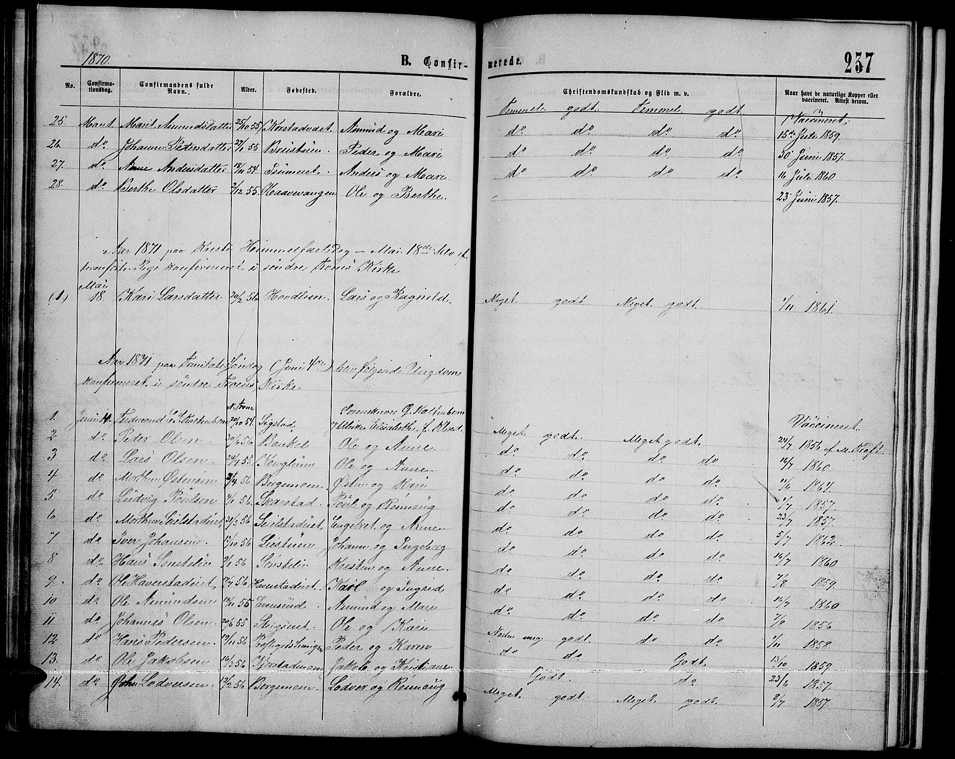 SAH, Sør-Fron prestekontor, H/Ha/Hab/L0002: Klokkerbok nr. 2, 1864-1883, s. 237
