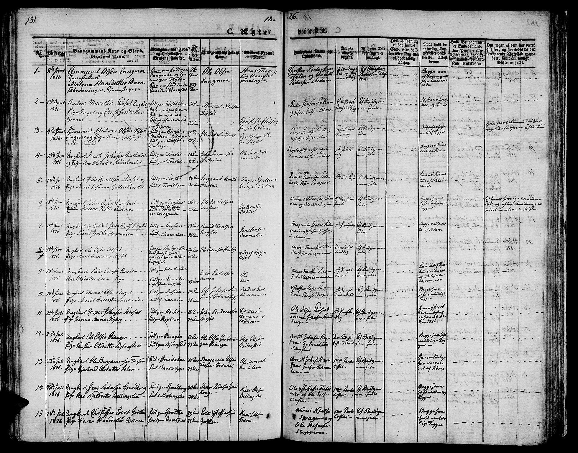 SAT, Ministerialprotokoller, klokkerbøker og fødselsregistre - Sør-Trøndelag, 646/L0609: Ministerialbok nr. 646A07, 1826-1838, s. 181
