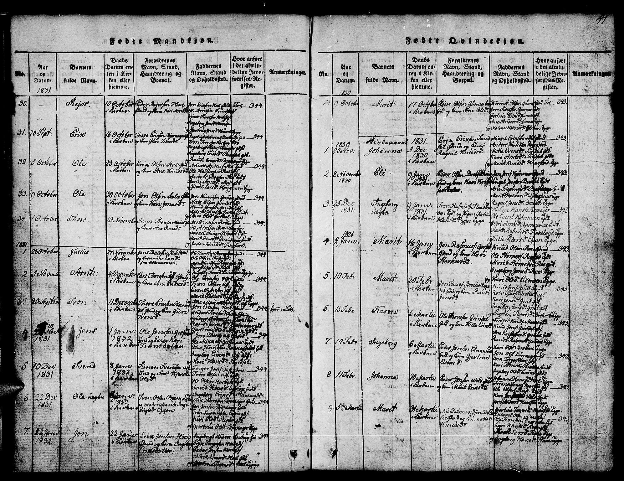 SAT, Ministerialprotokoller, klokkerbøker og fødselsregistre - Sør-Trøndelag, 674/L0874: Klokkerbok nr. 674C01, 1816-1860, s. 41