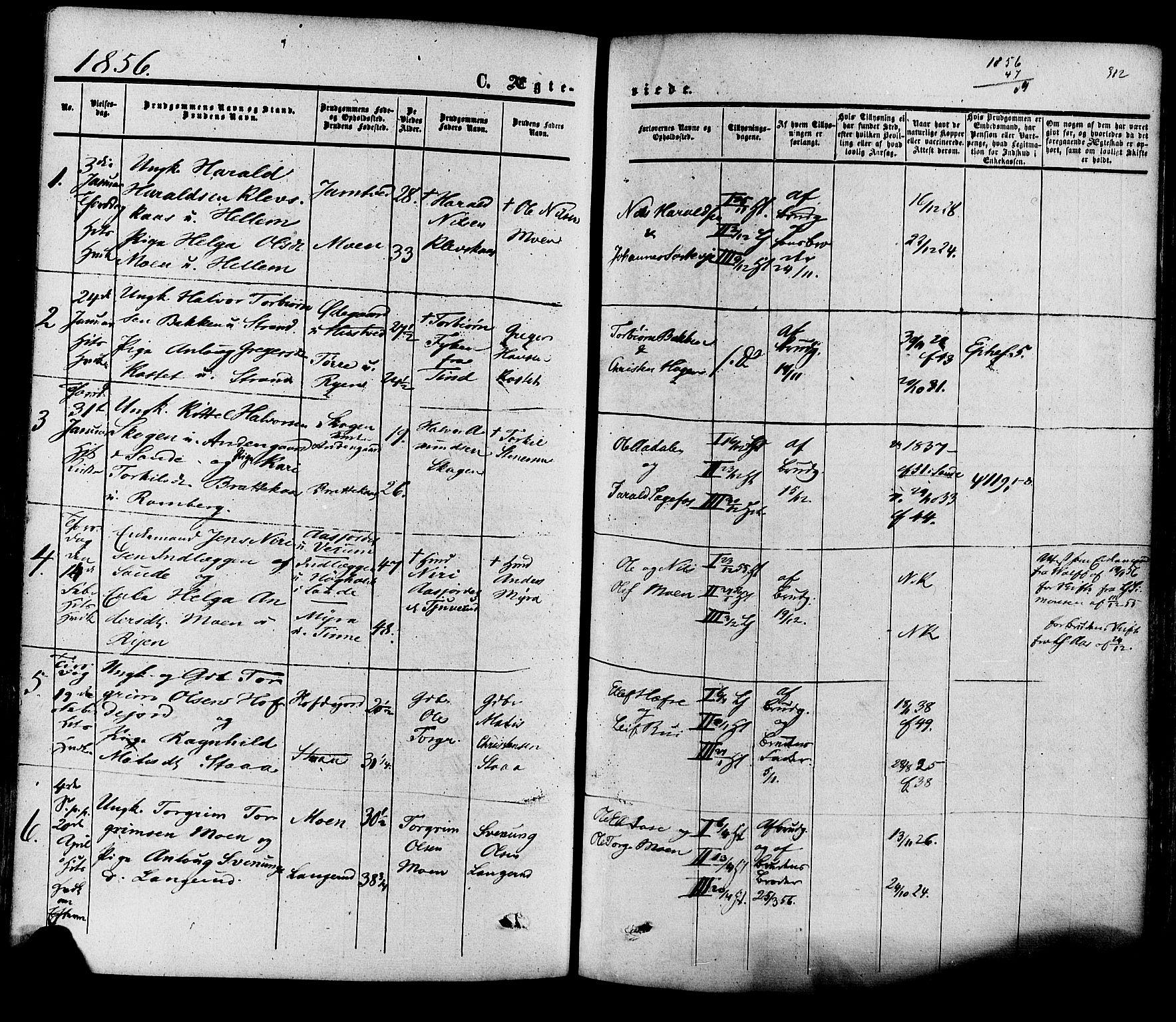 SAKO, Heddal kirkebøker, F/Fa/L0007: Ministerialbok nr. I 7, 1855-1877, s. 312