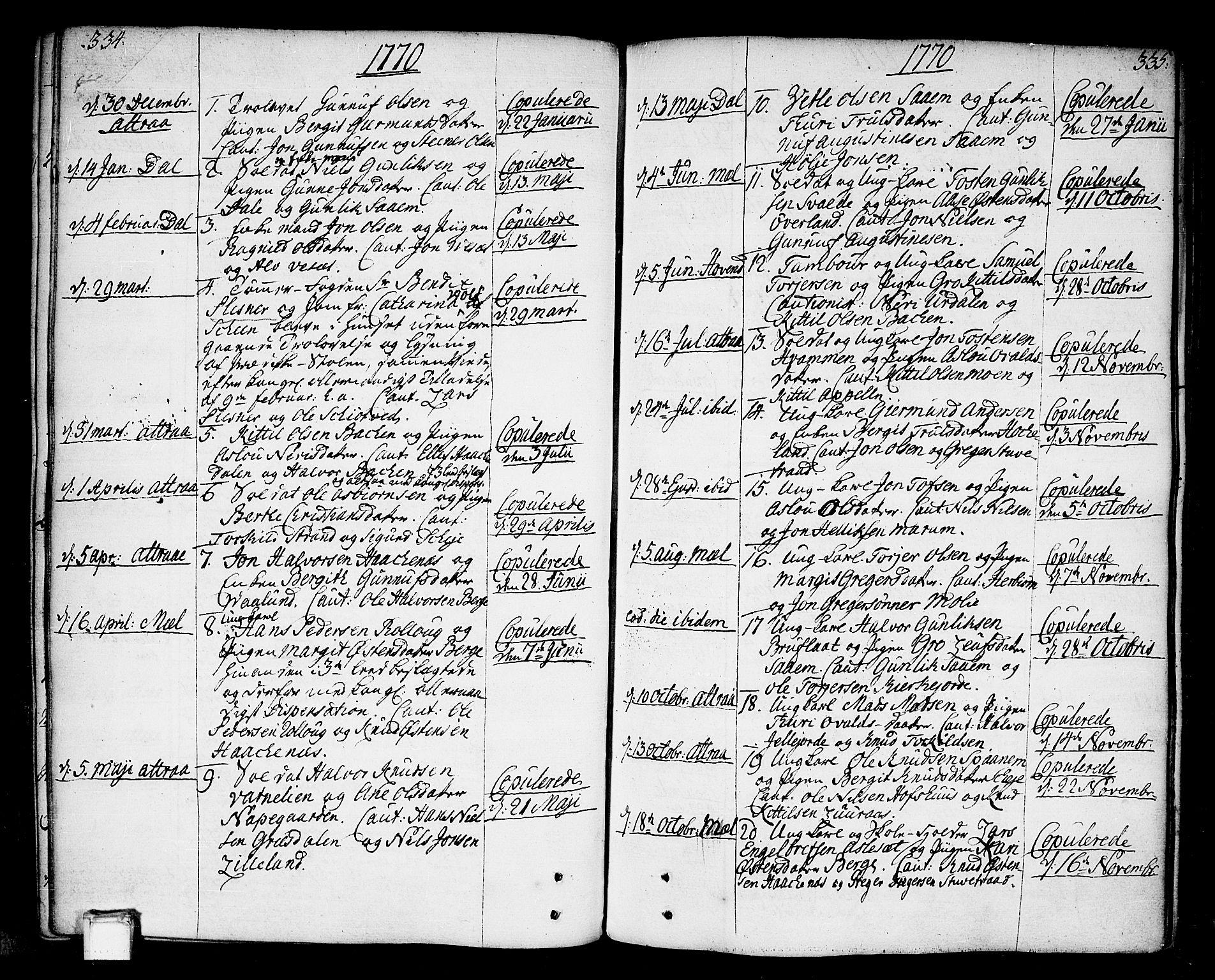 SAKO, Tinn kirkebøker, F/Fa/L0002: Ministerialbok nr. I 2, 1757-1810, s. 334-335