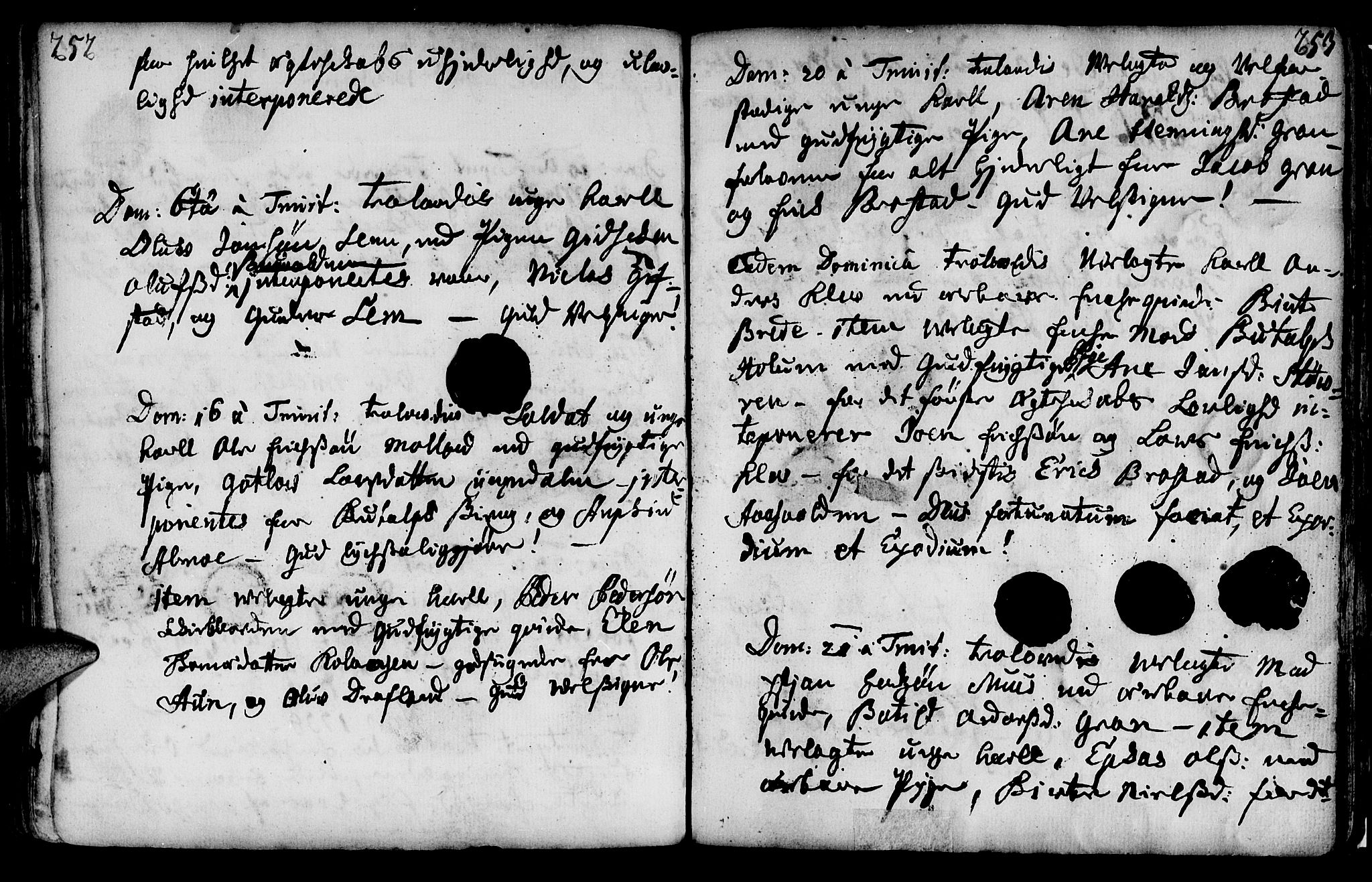 SAT, Ministerialprotokoller, klokkerbøker og fødselsregistre - Nord-Trøndelag, 749/L0467: Ministerialbok nr. 749A01, 1733-1787, s. 252-253