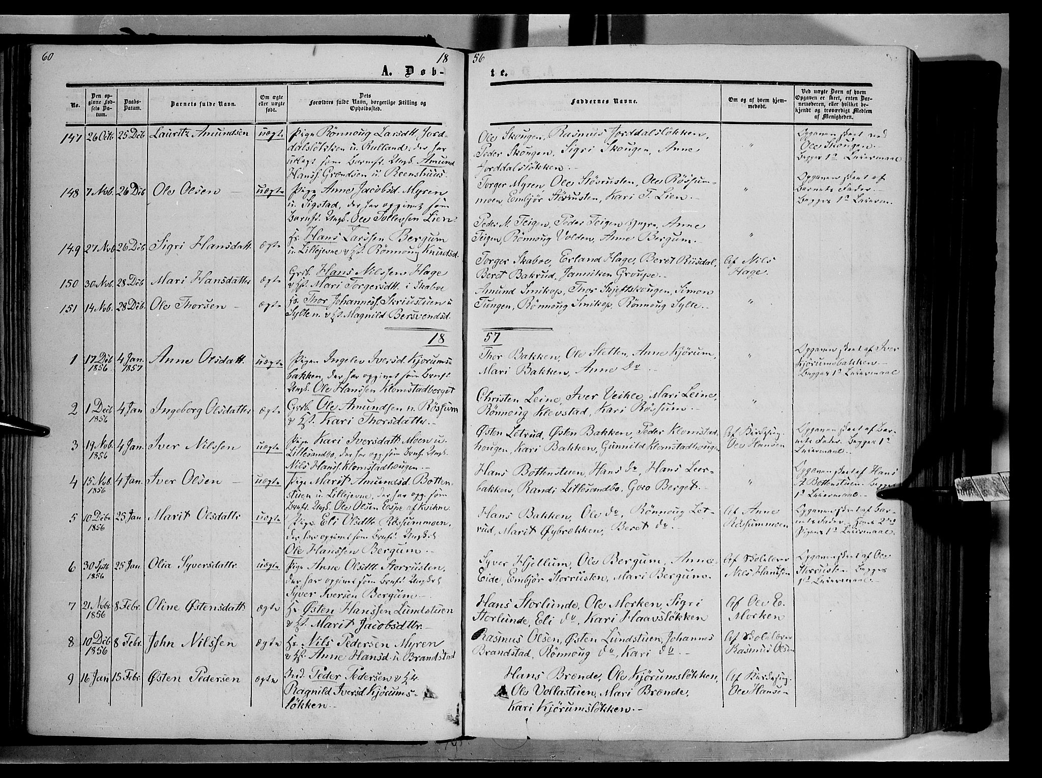 SAH, Nord-Fron prestekontor, Ministerialbok nr. 1, 1851-1864, s. 60