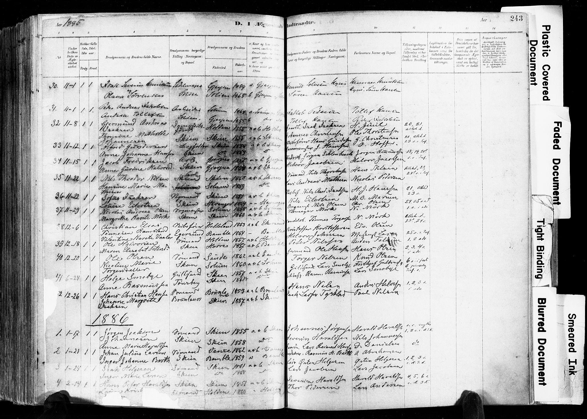 SAKO, Skien kirkebøker, F/Fa/L0009: Ministerialbok nr. 9, 1878-1890, s. 243