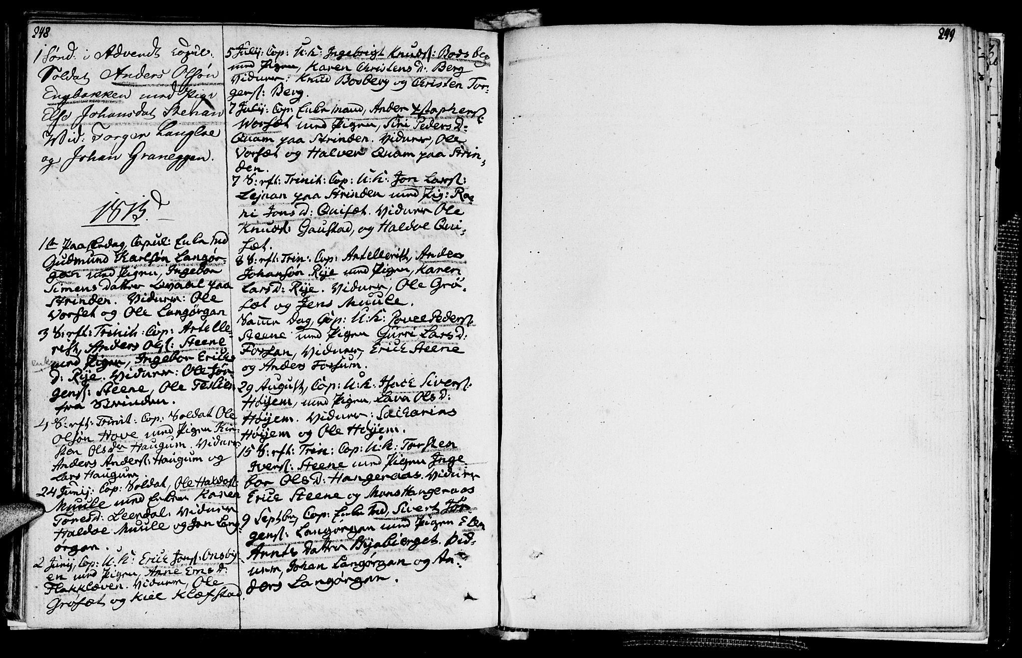 SAT, Ministerialprotokoller, klokkerbøker og fødselsregistre - Sør-Trøndelag, 612/L0371: Ministerialbok nr. 612A05, 1803-1816, s. 248-249