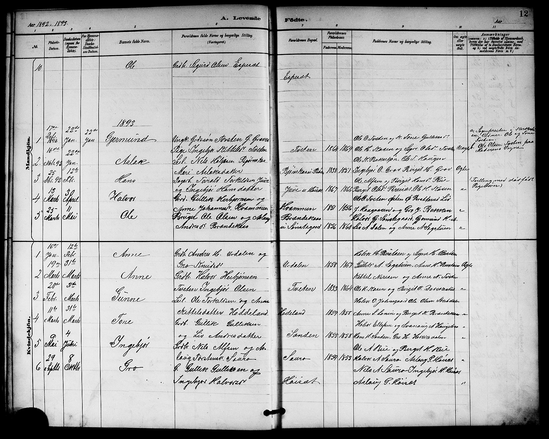 SAKO, Gransherad kirkebøker, G/Gb/L0003: Klokkerbok nr. II 3, 1887-1921, s. 12