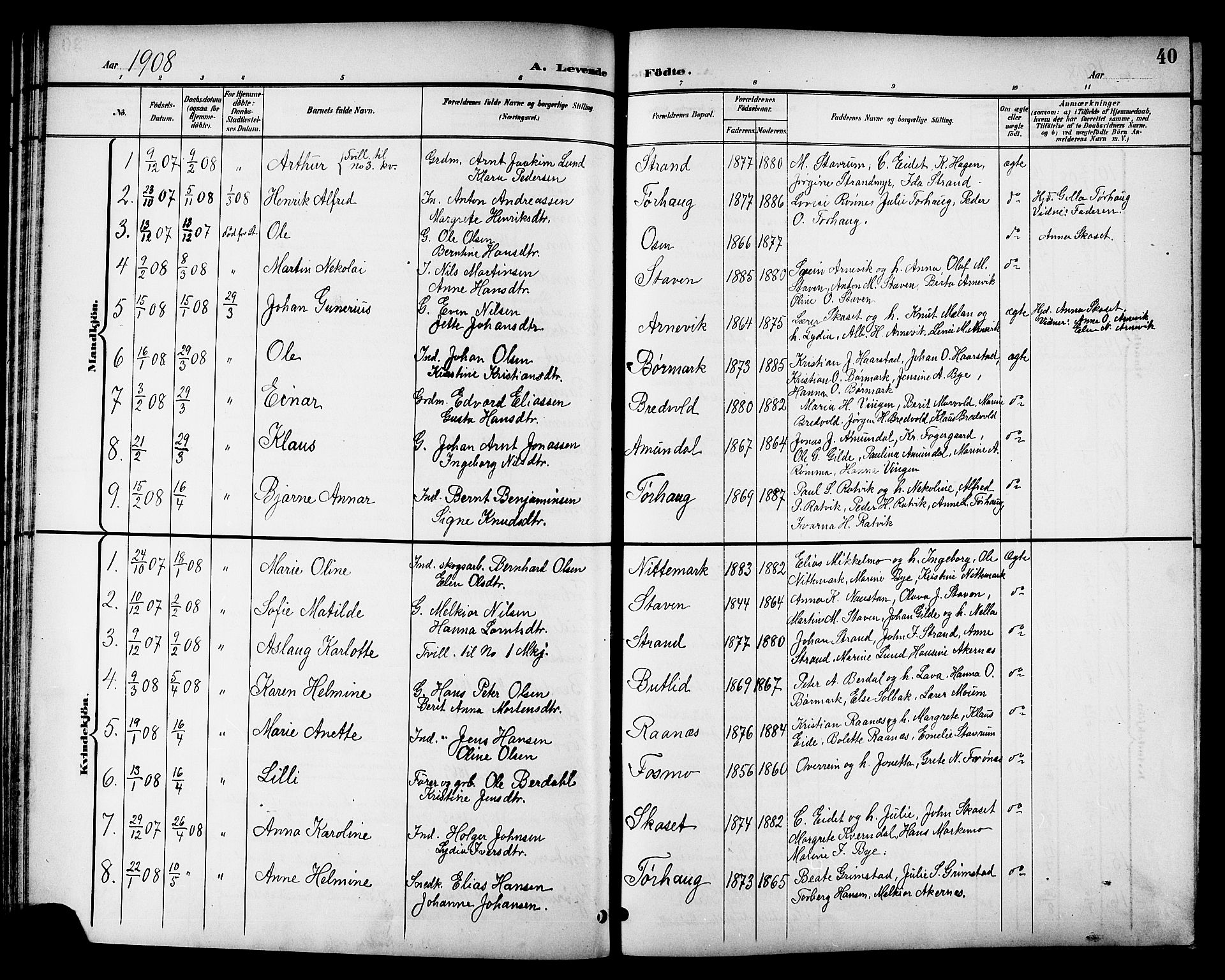 SAT, Ministerialprotokoller, klokkerbøker og fødselsregistre - Sør-Trøndelag, 655/L0688: Klokkerbok nr. 655C04, 1899-1922, s. 40