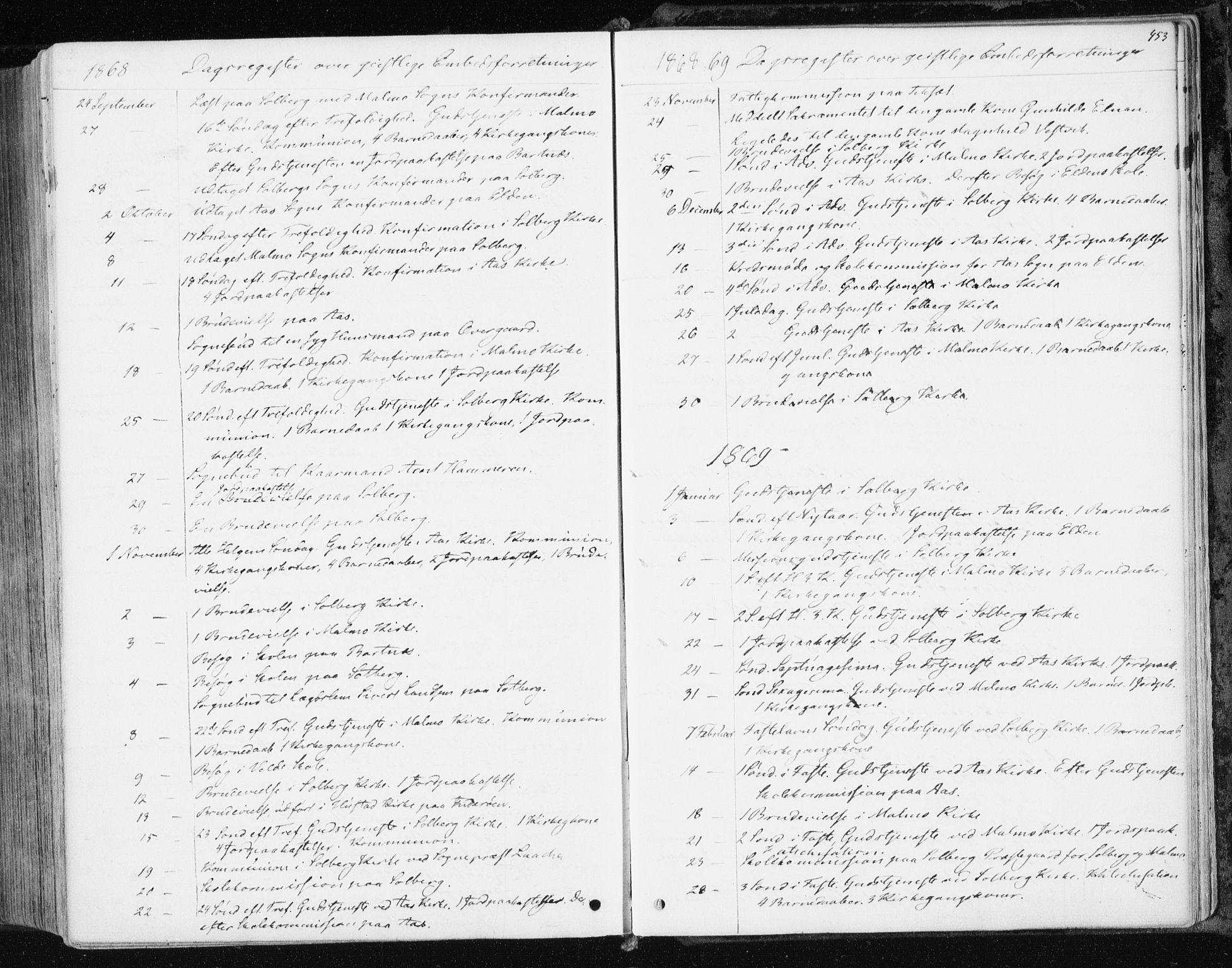 SAT, Ministerialprotokoller, klokkerbøker og fødselsregistre - Nord-Trøndelag, 741/L0394: Ministerialbok nr. 741A08, 1864-1877, s. 453