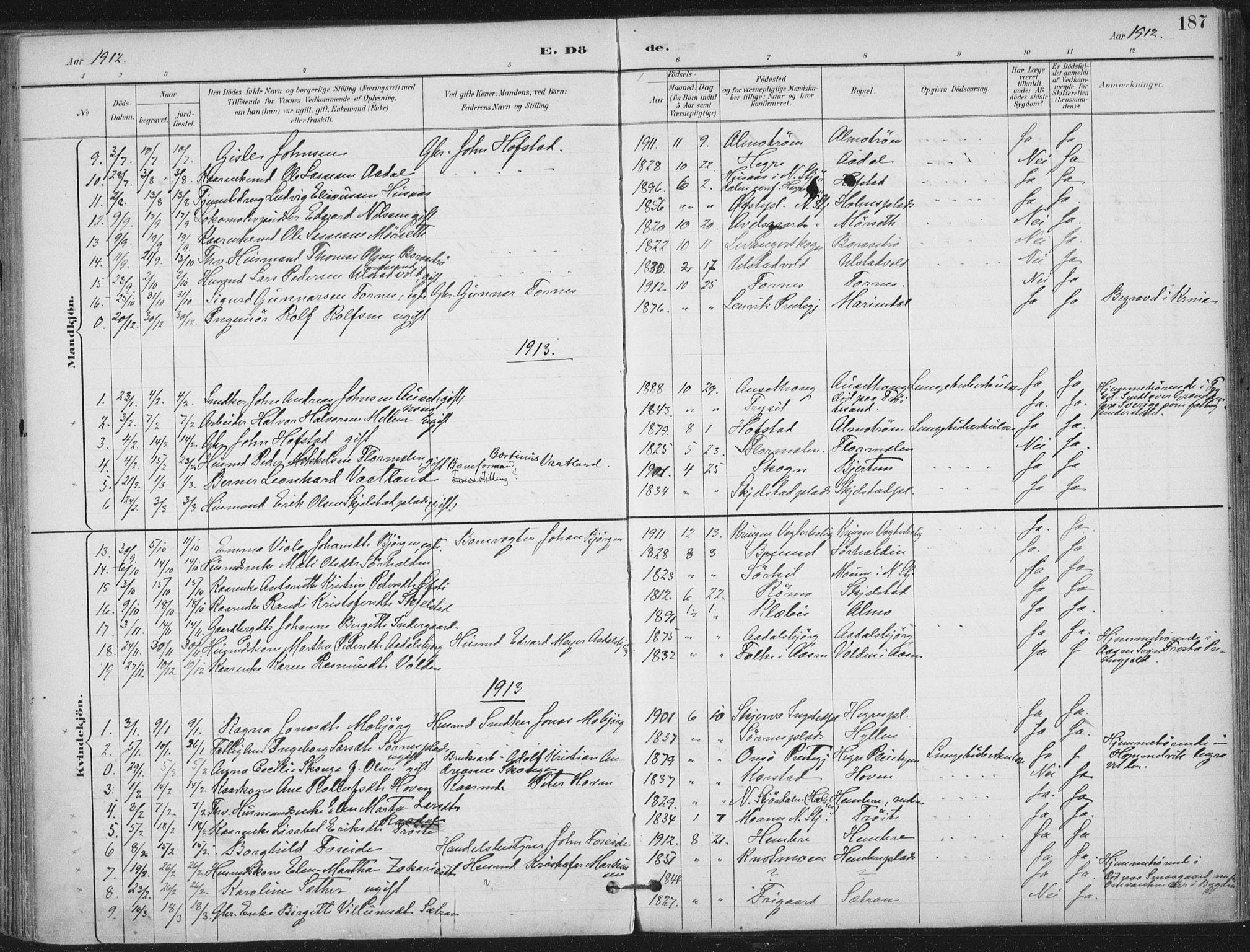 SAT, Ministerialprotokoller, klokkerbøker og fødselsregistre - Nord-Trøndelag, 703/L0031: Ministerialbok nr. 703A04, 1893-1914, s. 187