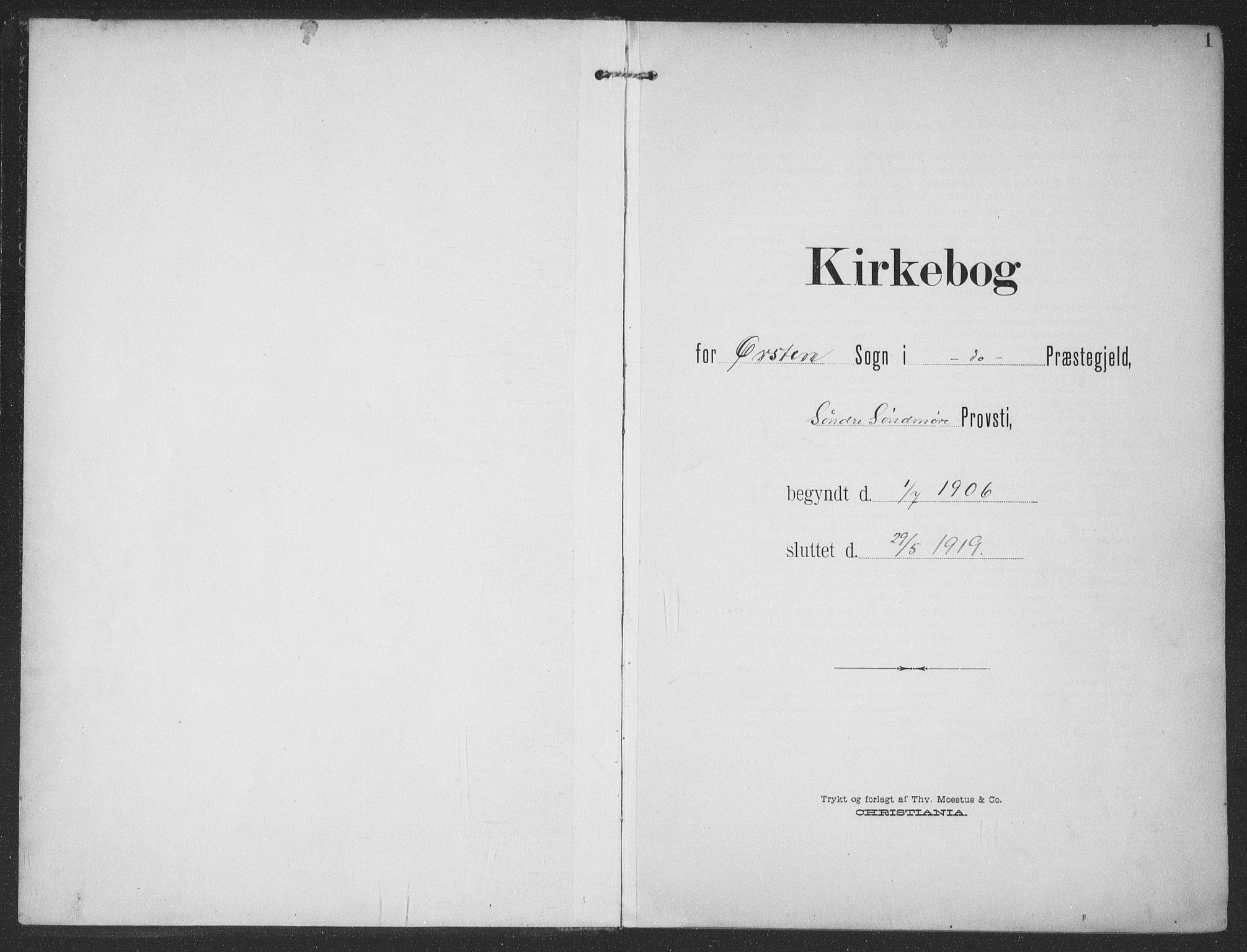 SAT, Ministerialprotokoller, klokkerbøker og fødselsregistre - Møre og Romsdal, 513/L0178: Ministerialbok nr. 513A05, 1906-1919, s. 1