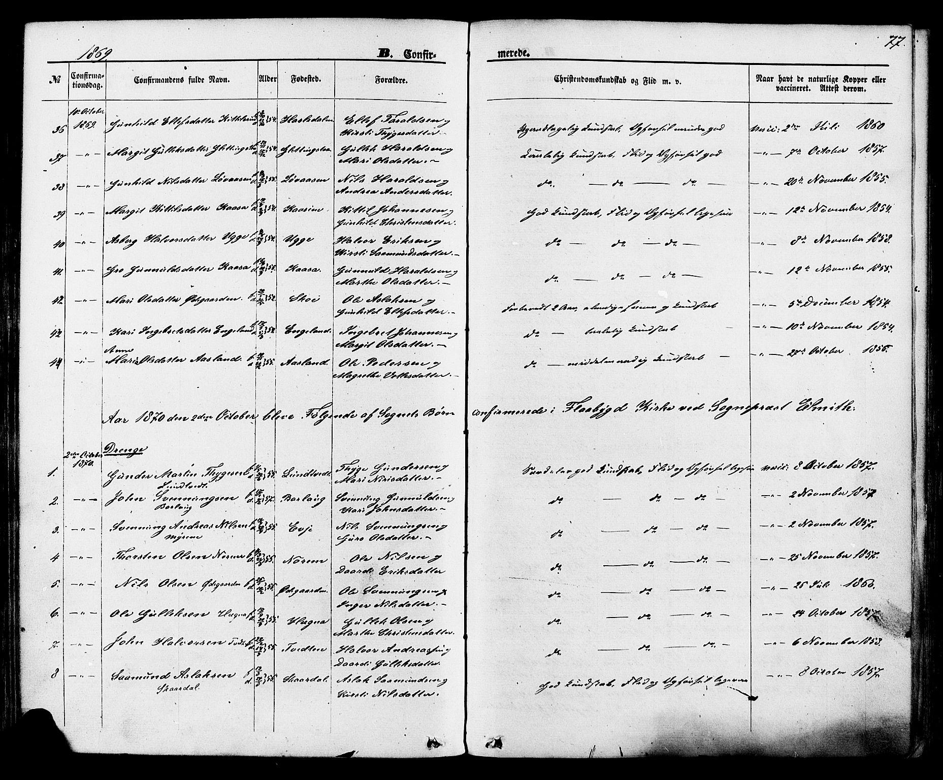 SAKO, Lunde kirkebøker, F/Fa/L0001: Ministerialbok nr. I 1, 1866-1883, s. 77