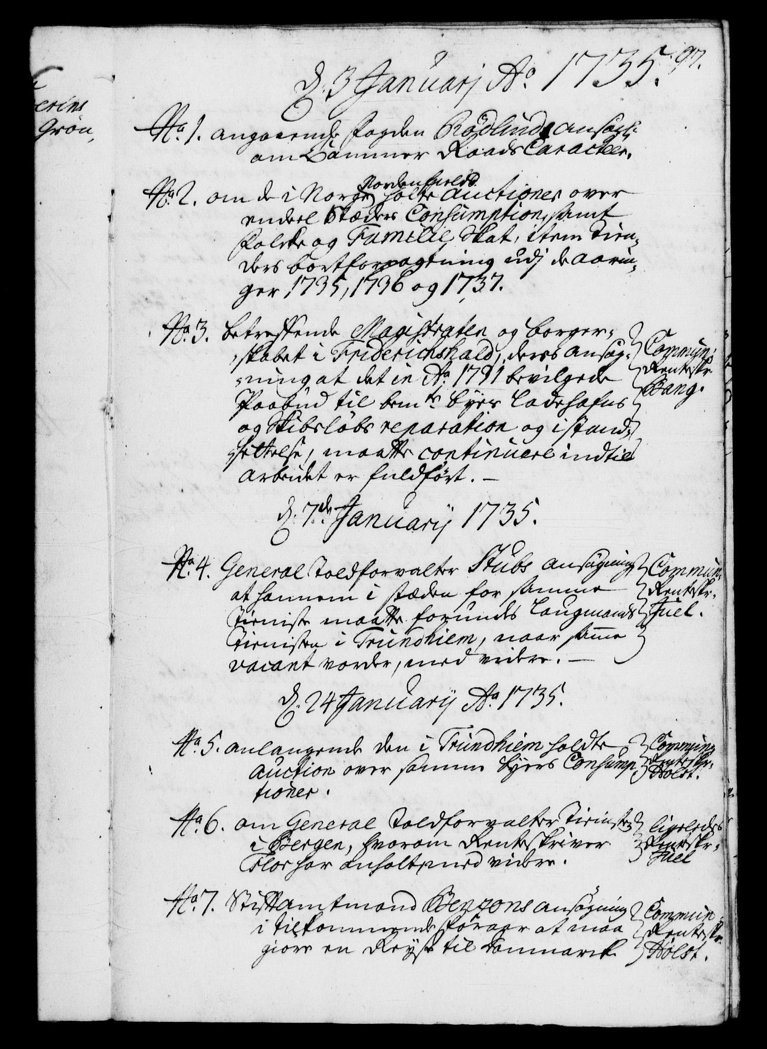 RA, Rentekammeret, Kammerkanselliet, G/Gf/Gfb/L0003: Register til norske relasjons- og resolusjonsprotokoller (merket RK 52.98), 1729-1736, s. 97