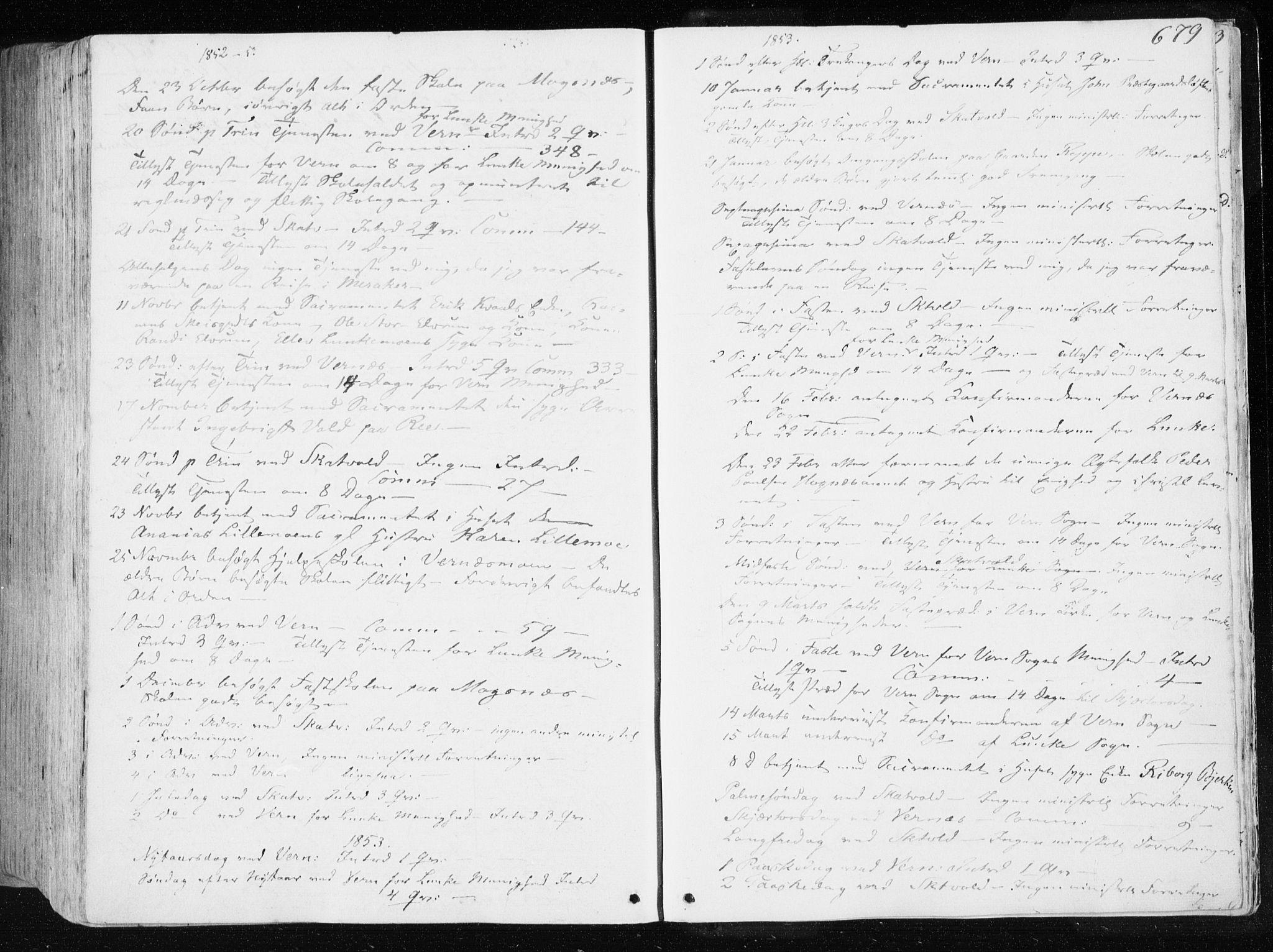 SAT, Ministerialprotokoller, klokkerbøker og fødselsregistre - Nord-Trøndelag, 709/L0074: Ministerialbok nr. 709A14, 1845-1858, s. 679