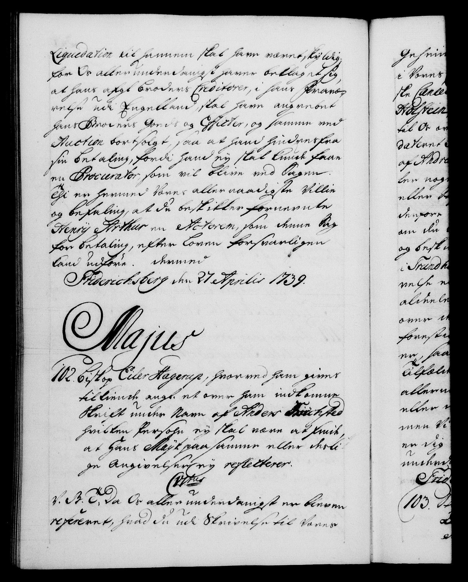 RA, Danske Kanselli 1572-1799, F/Fc/Fca/Fcab/L0028: Norske tegnelser, 1738-1740, s. 300b