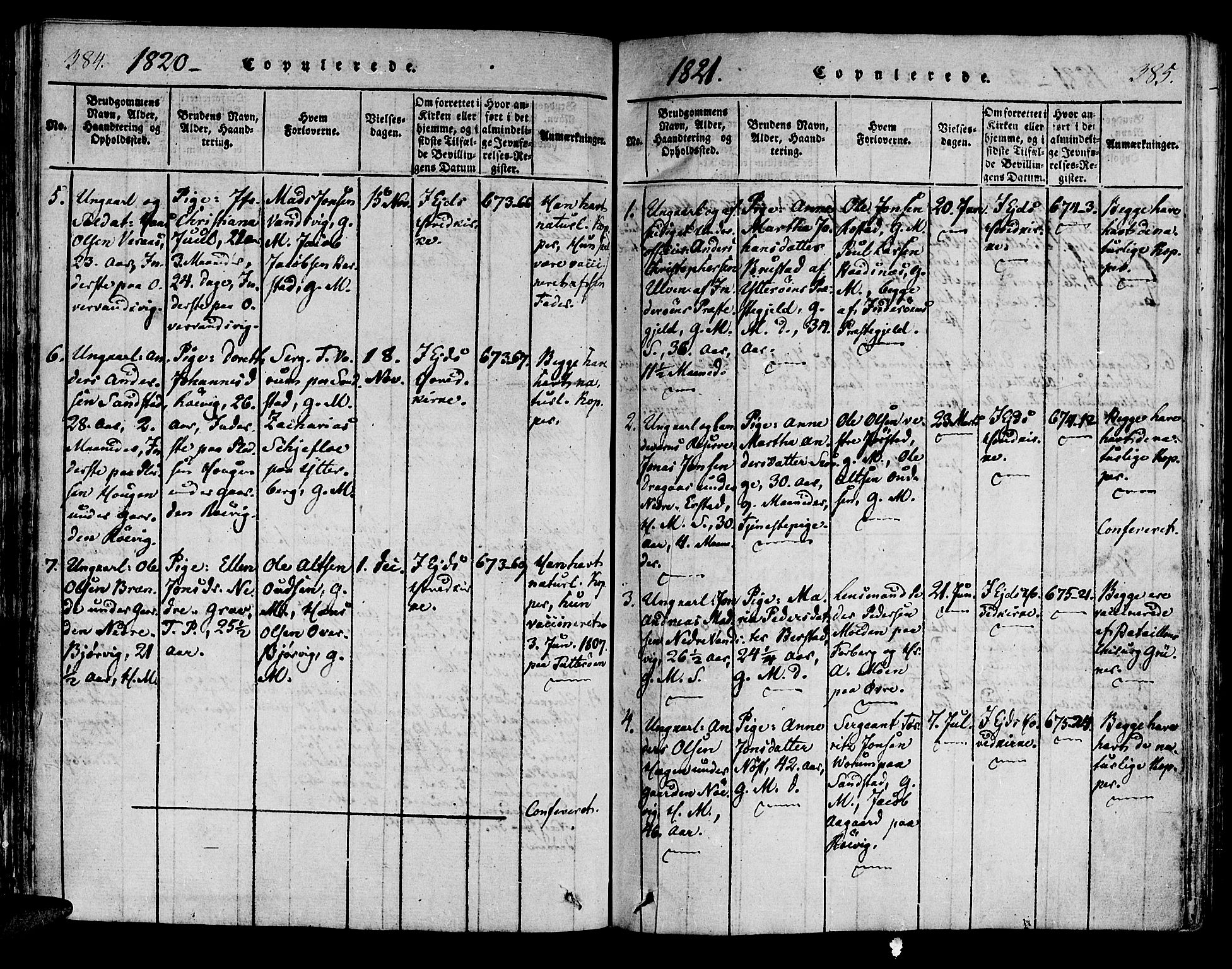 SAT, Ministerialprotokoller, klokkerbøker og fødselsregistre - Nord-Trøndelag, 722/L0217: Ministerialbok nr. 722A04, 1817-1842, s. 384-385
