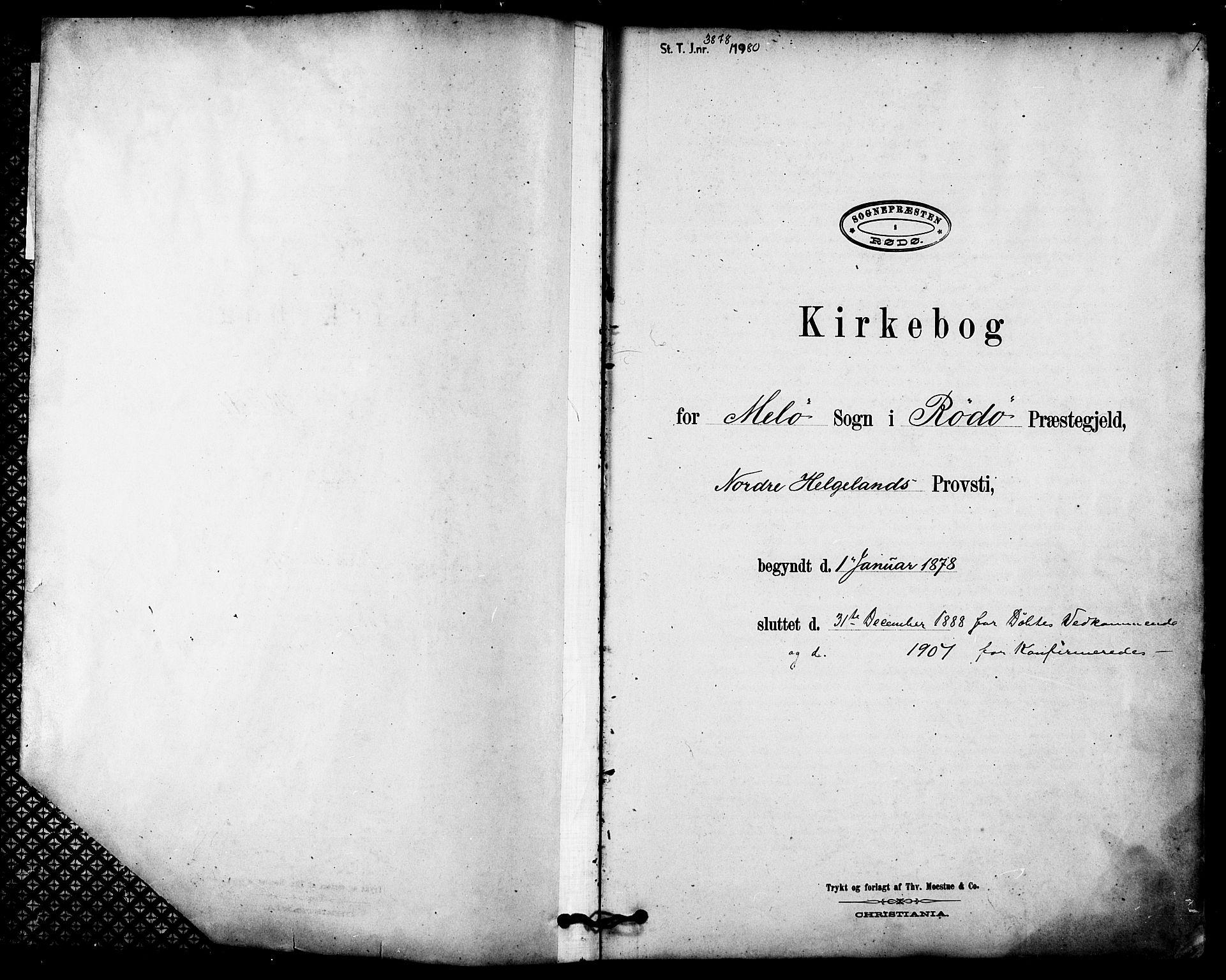 SAT, Ministerialprotokoller, klokkerbøker og fødselsregistre - Nordland, 843/L0626: Ministerialbok nr. 843A01, 1878-1907, s. 1