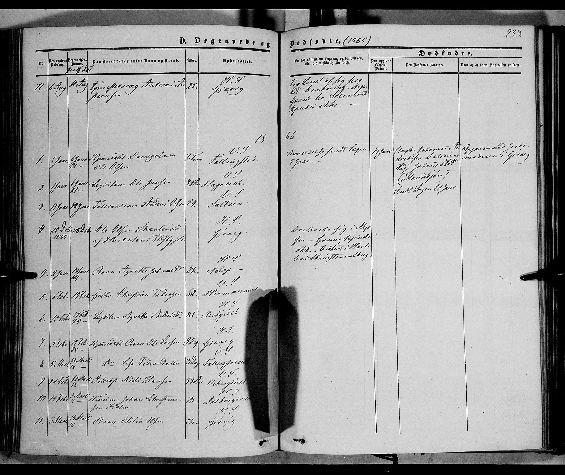 SAH, Vardal prestekontor, H/Ha/Haa/L0006: Ministerialbok nr. 6, 1854-1866, s. 283