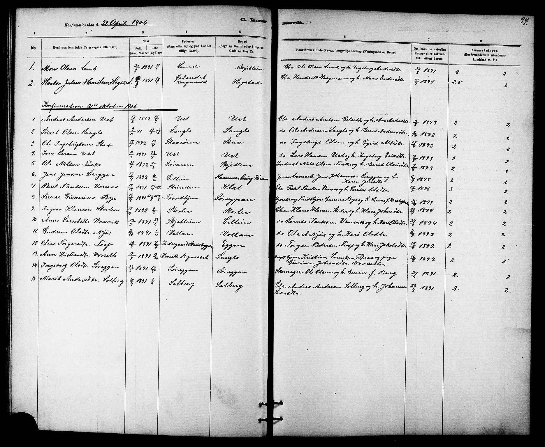 SAT, Ministerialprotokoller, klokkerbøker og fødselsregistre - Sør-Trøndelag, 613/L0395: Klokkerbok nr. 613C03, 1887-1909, s. 94