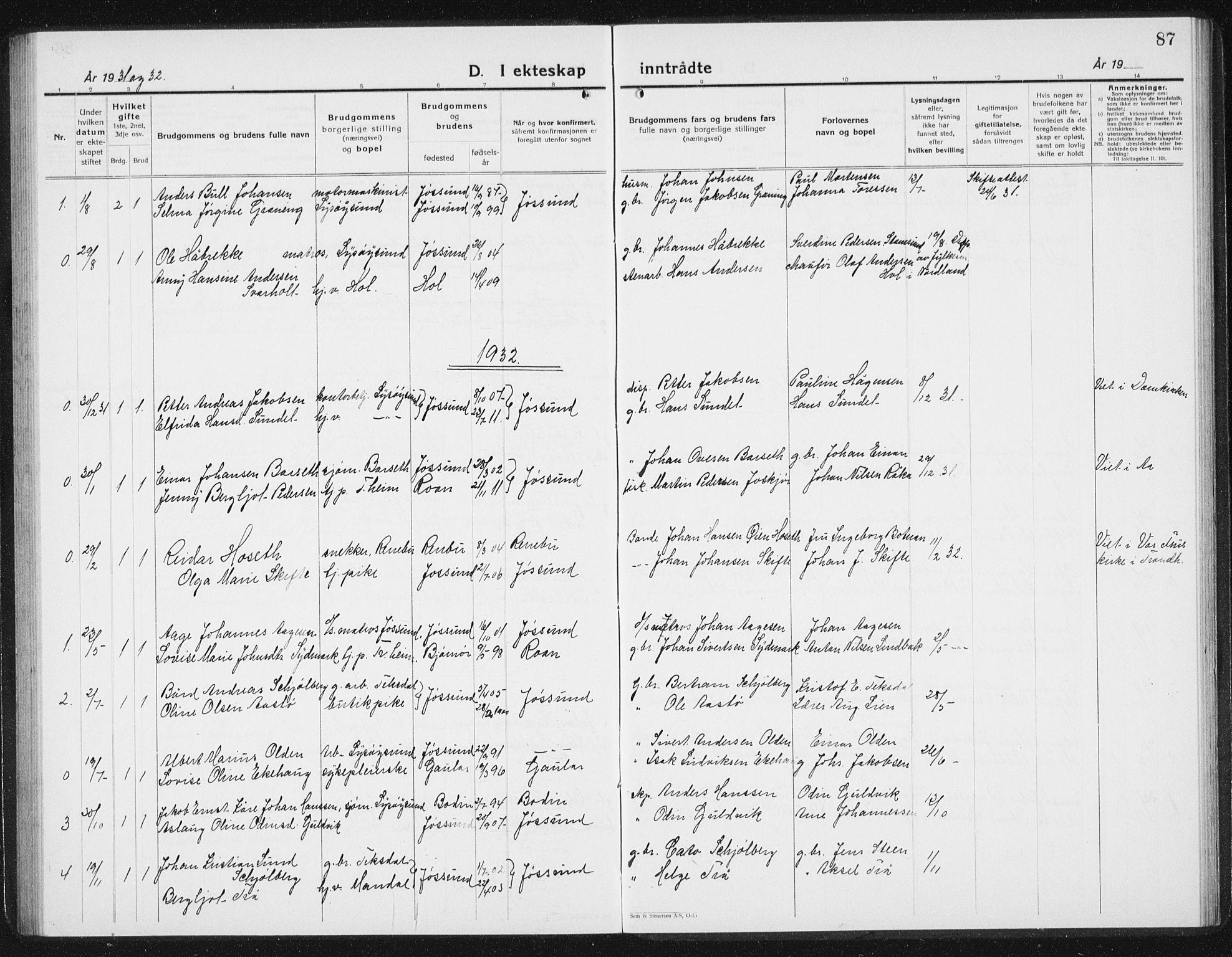 SAT, Ministerialprotokoller, klokkerbøker og fødselsregistre - Sør-Trøndelag, 654/L0667: Klokkerbok nr. 654C03, 1924-1939, s. 87