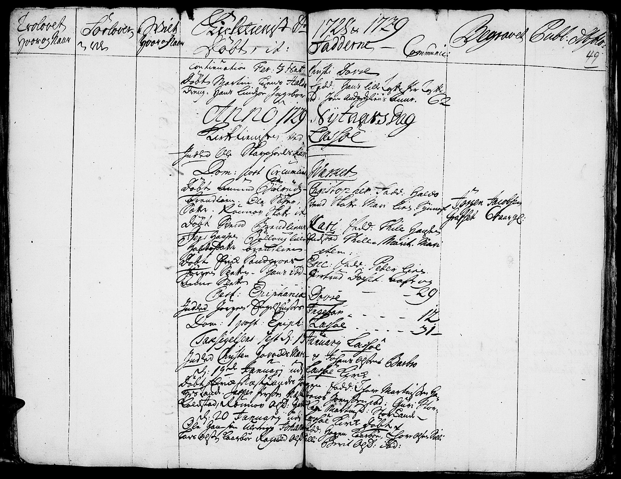 SAH, Lesja prestekontor, Ministerialbok nr. 1, 1724-1731, s. 49
