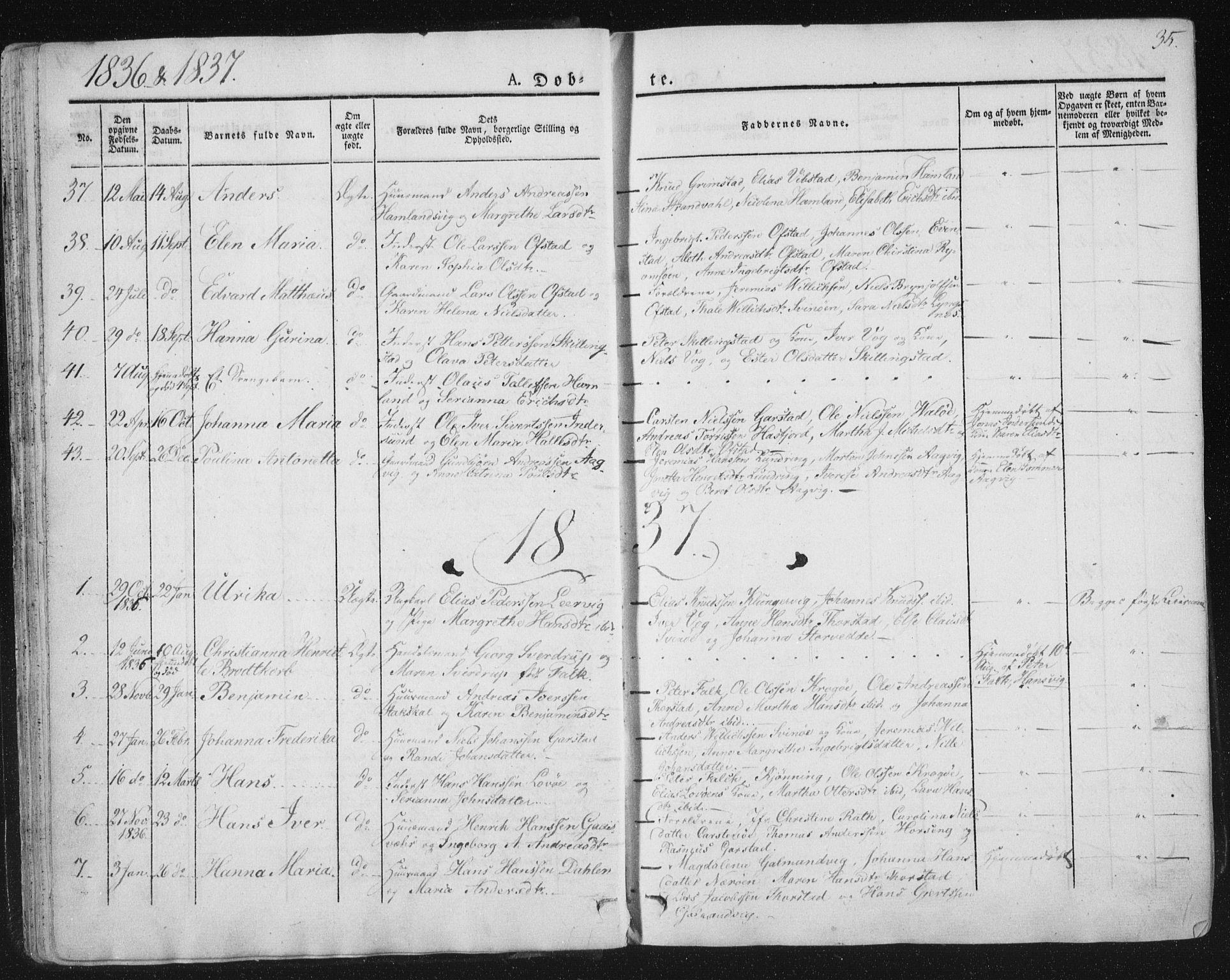 SAT, Ministerialprotokoller, klokkerbøker og fødselsregistre - Nord-Trøndelag, 784/L0669: Ministerialbok nr. 784A04, 1829-1859, s. 35