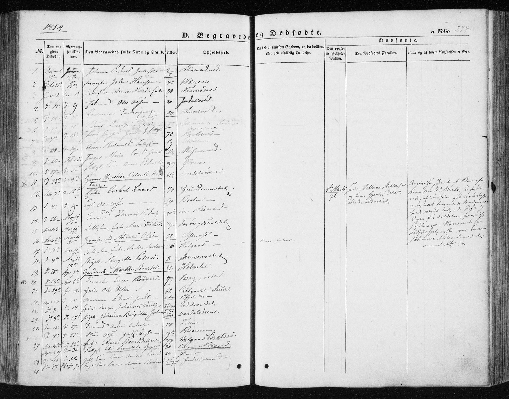 SAT, Ministerialprotokoller, klokkerbøker og fødselsregistre - Nord-Trøndelag, 723/L0240: Ministerialbok nr. 723A09, 1852-1860, s. 274
