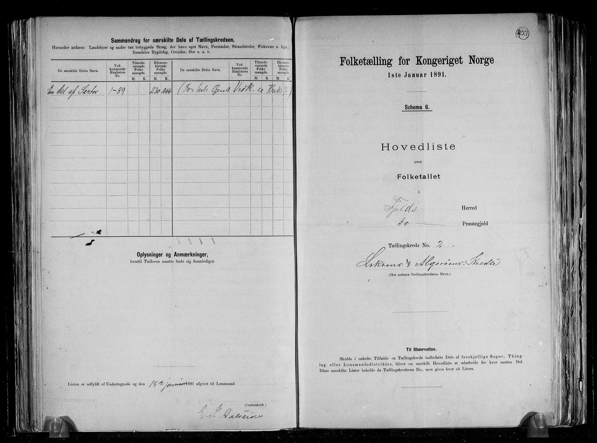 RA, Folketelling 1891 for 1246 Fjell herred, 1891, s. 9
