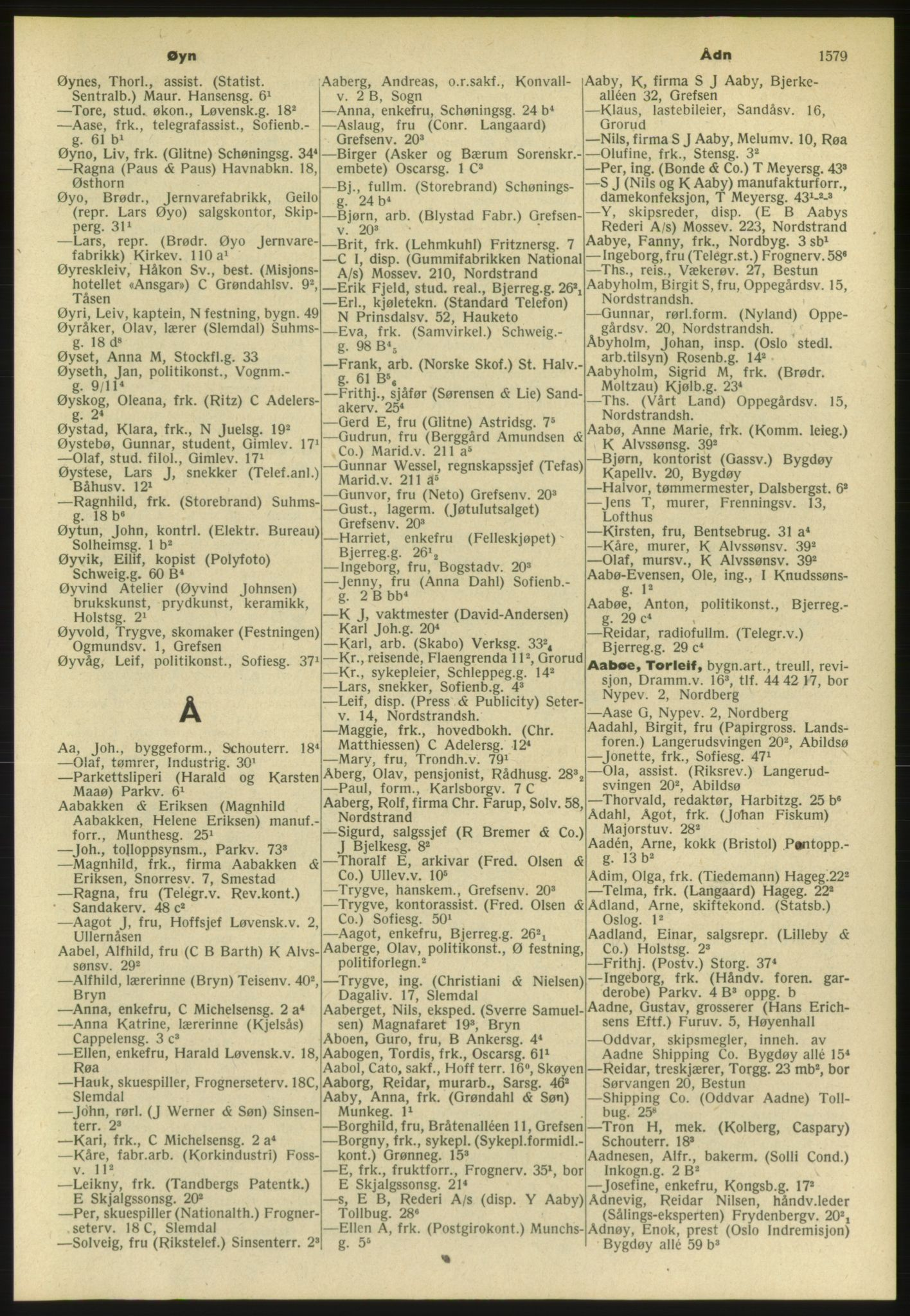 PUBL, Kristiania/Oslo adressebok, 1952, s. 1579