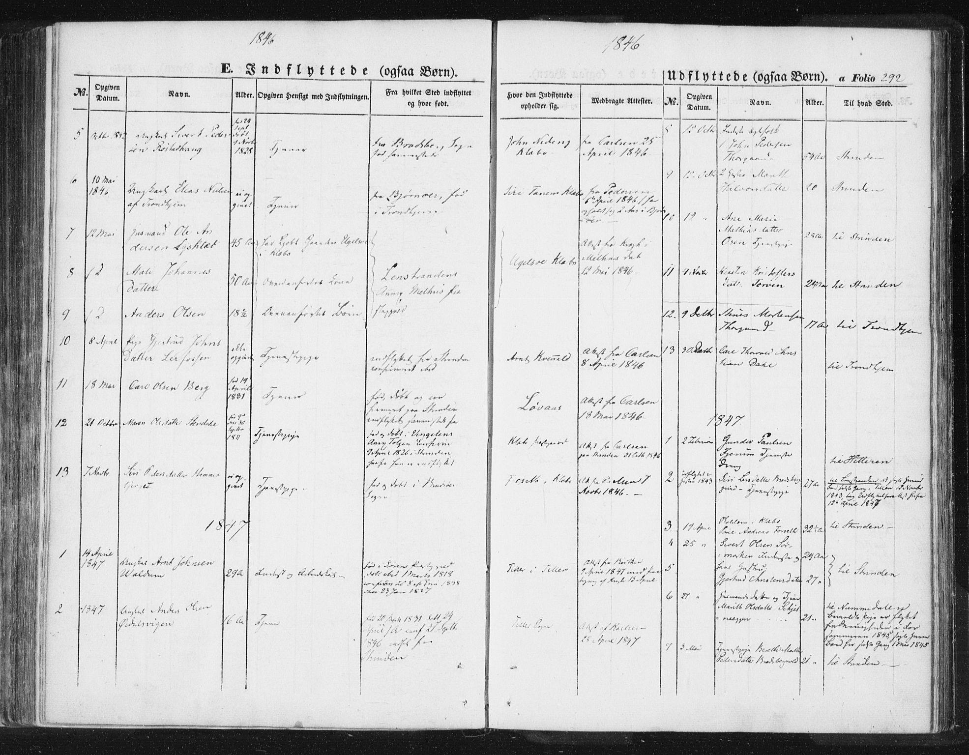 SAT, Ministerialprotokoller, klokkerbøker og fødselsregistre - Sør-Trøndelag, 618/L0441: Ministerialbok nr. 618A05, 1843-1862, s. 292