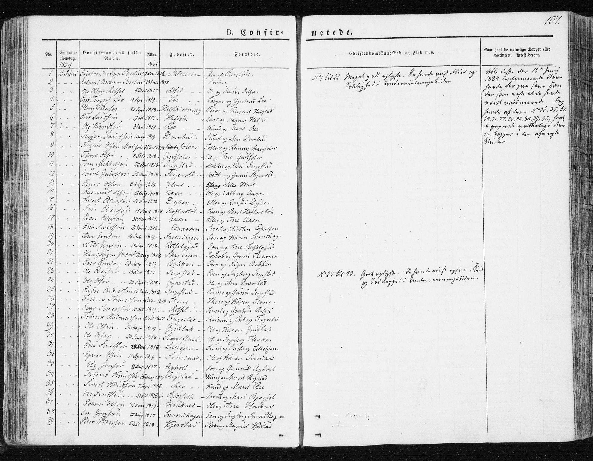 SAT, Ministerialprotokoller, klokkerbøker og fødselsregistre - Sør-Trøndelag, 672/L0855: Ministerialbok nr. 672A07, 1829-1860, s. 107