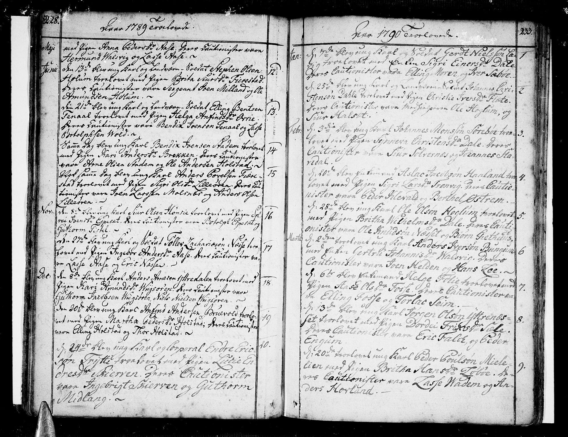 SAB, Vik Sokneprestembete, Ministerialbok nr. A 5, 1787-1820, s. 232-233