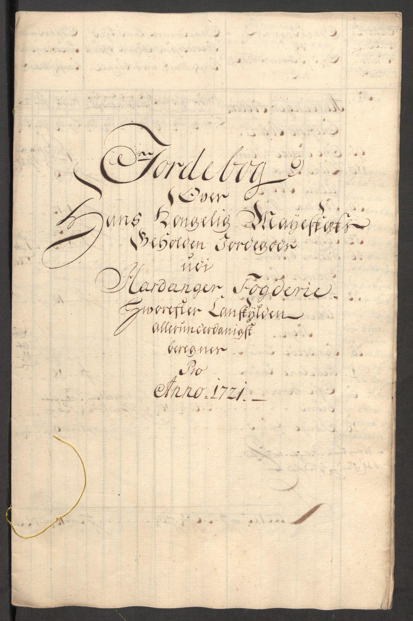 RA, Rentekammeret inntil 1814, Reviderte regnskaper, Fogderegnskap, R48/L3000: Fogderegnskap Sunnhordland og Hardanger, 1721, s. 183