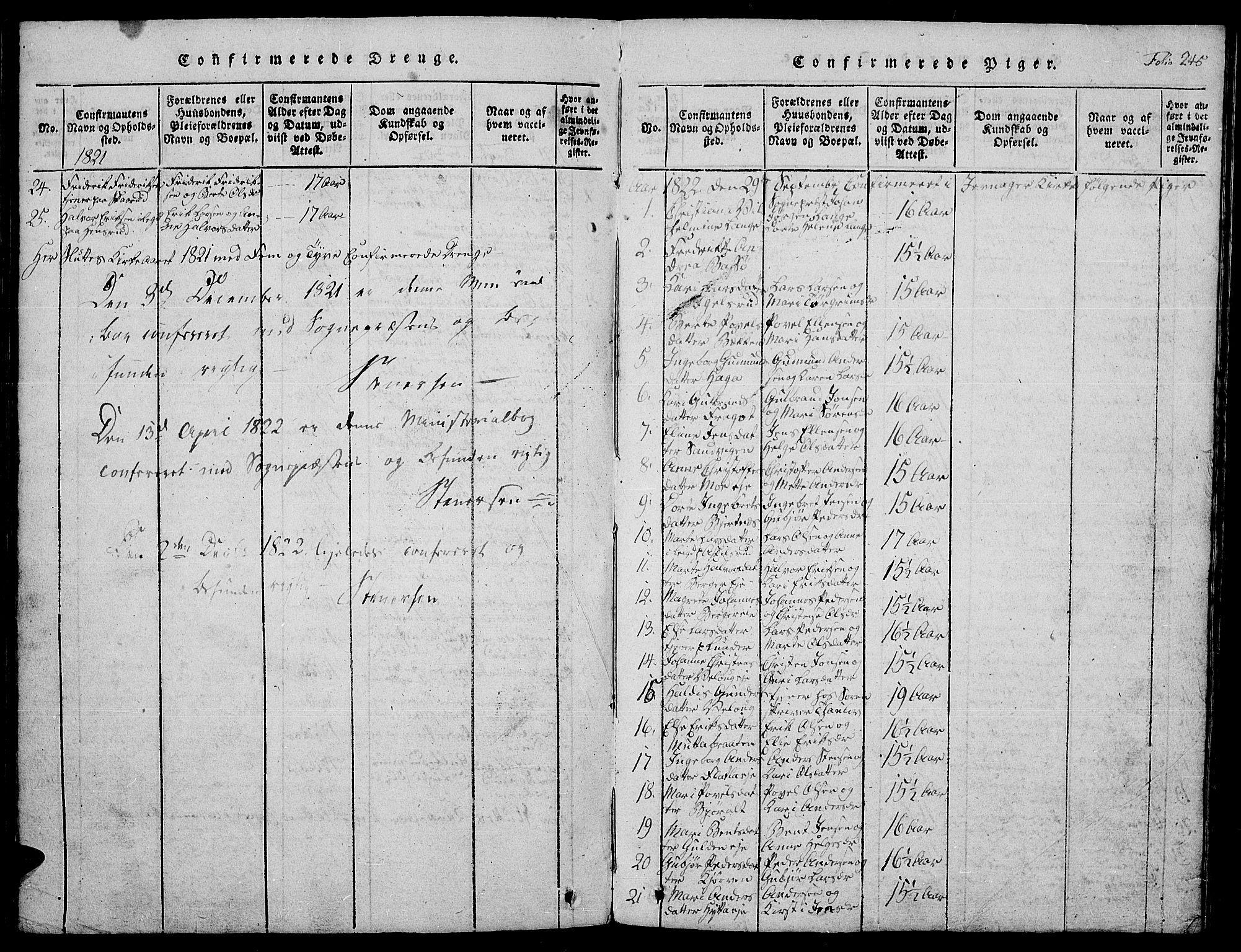 SAH, Jevnaker prestekontor, Klokkerbok nr. 1, 1815-1837, s. 245