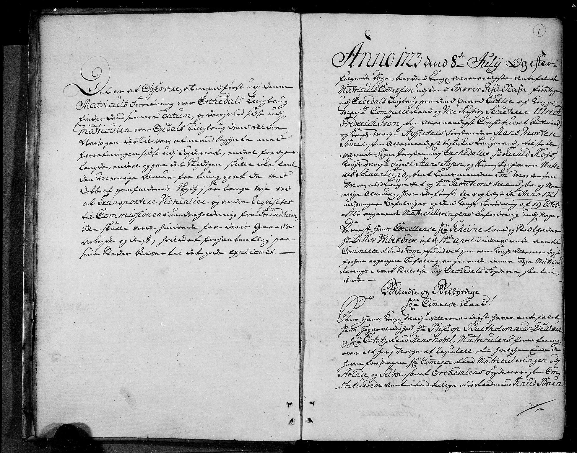 RA, Rentekammeret inntil 1814, Realistisk ordnet avdeling, N/Nb/Nbf/L0156: Orkdal eksaminasjonsprotokoll, 1723, s. 1a