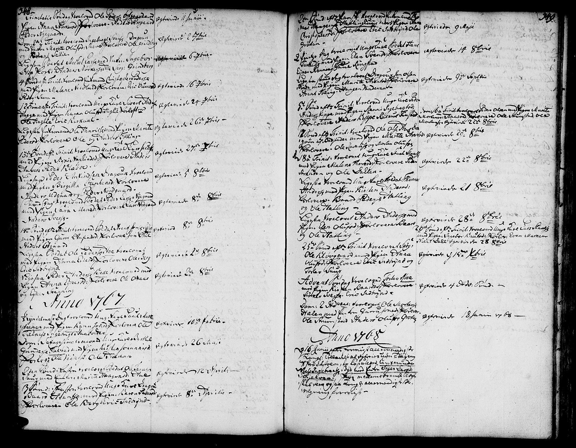 SAT, Ministerialprotokoller, klokkerbøker og fødselsregistre - Nord-Trøndelag, 746/L0440: Ministerialbok nr. 746A02, 1760-1815, s. 348-349