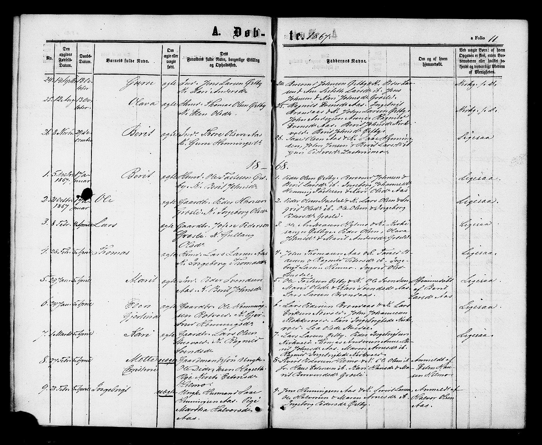SAT, Ministerialprotokoller, klokkerbøker og fødselsregistre - Sør-Trøndelag, 698/L1163: Ministerialbok nr. 698A01, 1862-1887, s. 11
