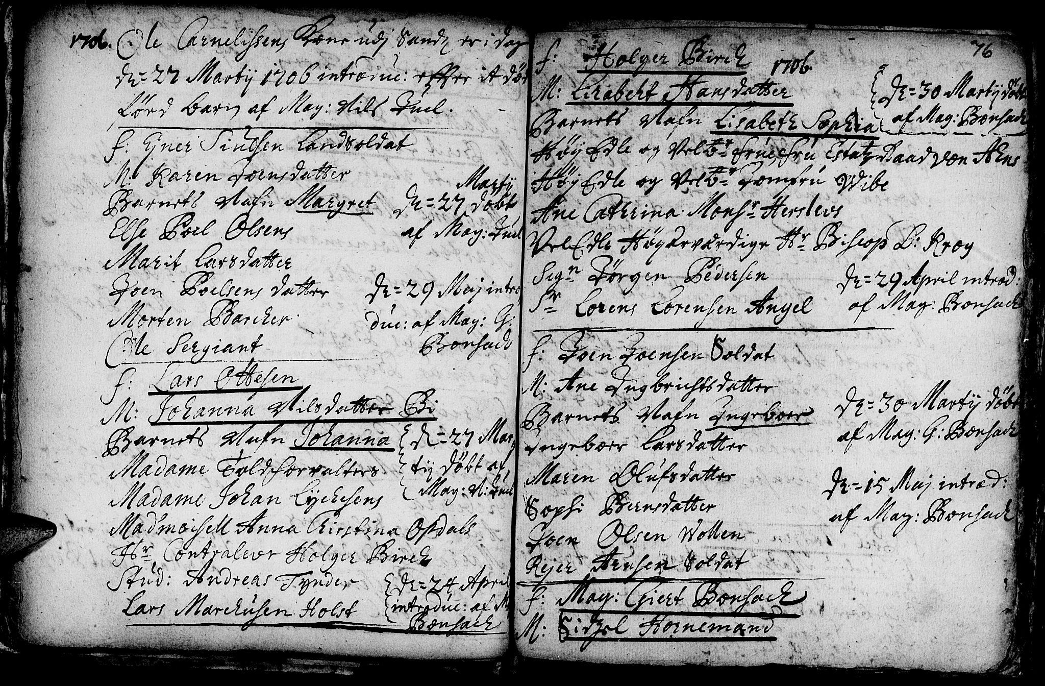 SAT, Ministerialprotokoller, klokkerbøker og fødselsregistre - Sør-Trøndelag, 601/L0034: Ministerialbok nr. 601A02, 1702-1714, s. 76