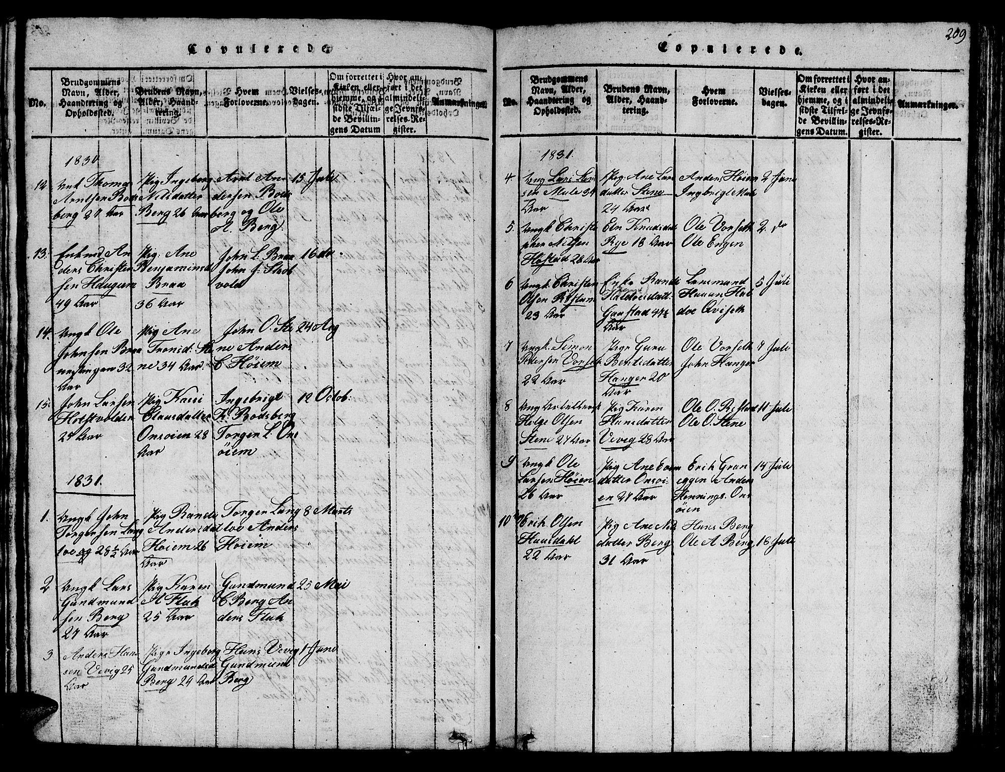 SAT, Ministerialprotokoller, klokkerbøker og fødselsregistre - Sør-Trøndelag, 612/L0385: Klokkerbok nr. 612C01, 1816-1845, s. 209