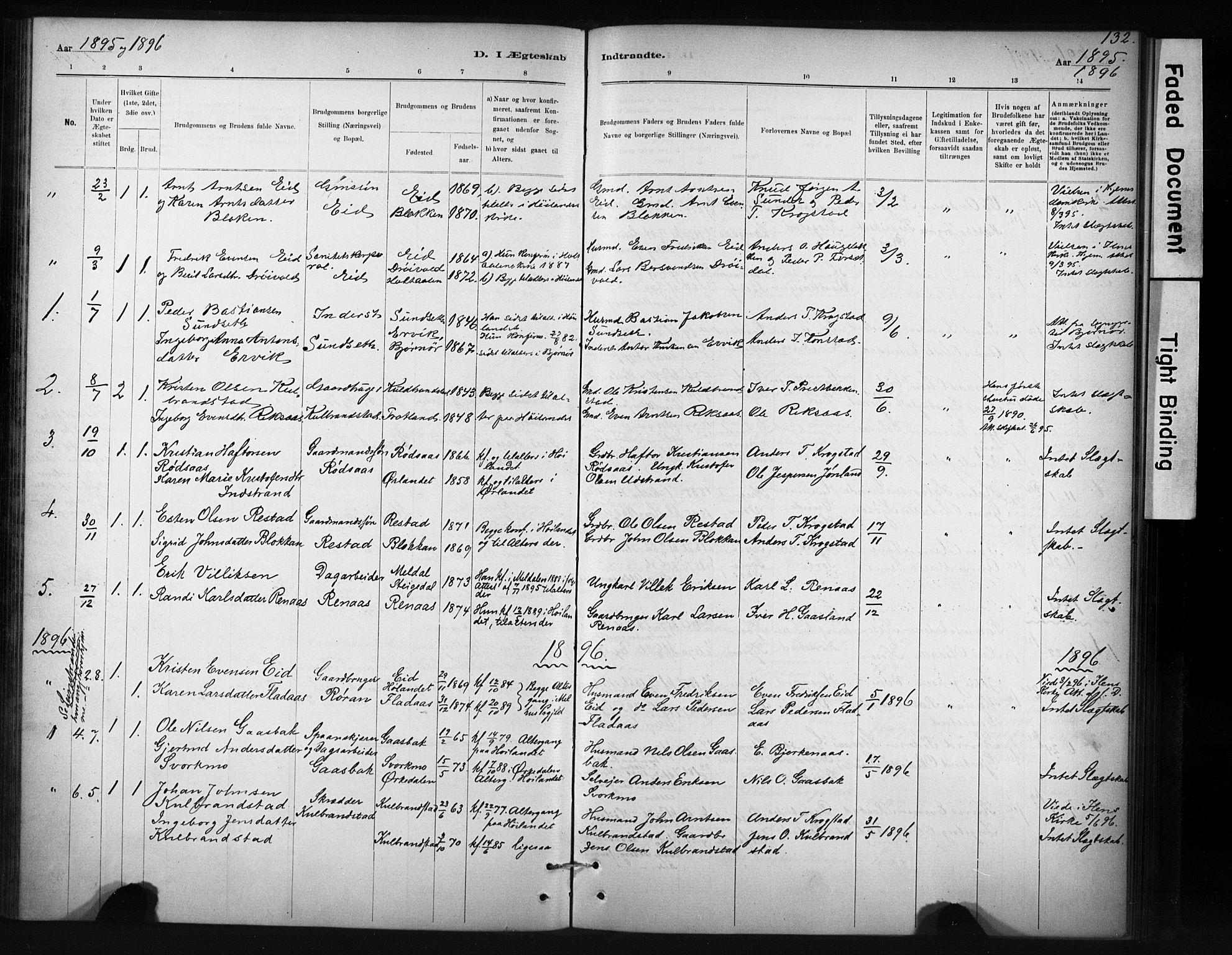 SAT, Ministerialprotokoller, klokkerbøker og fødselsregistre - Sør-Trøndelag, 694/L1127: Ministerialbok nr. 694A01, 1887-1905, s. 132