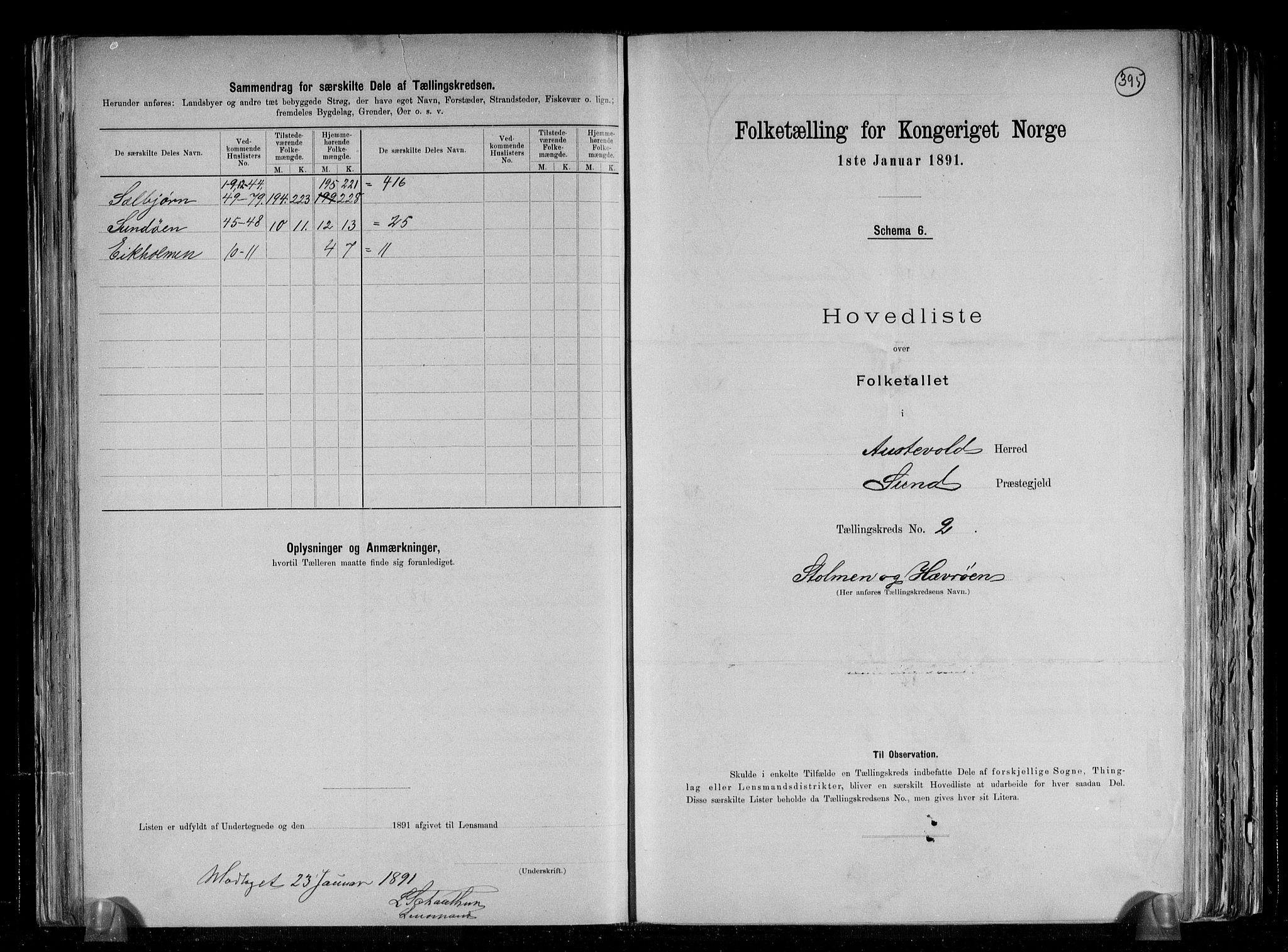RA, Folketelling 1891 for 1244 Austevoll herred, 1891, s. 6