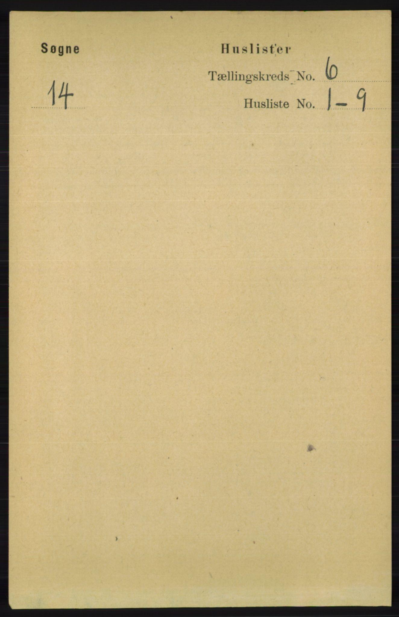 RA, Folketelling 1891 for 1018 Søgne herred, 1891, s. 1355