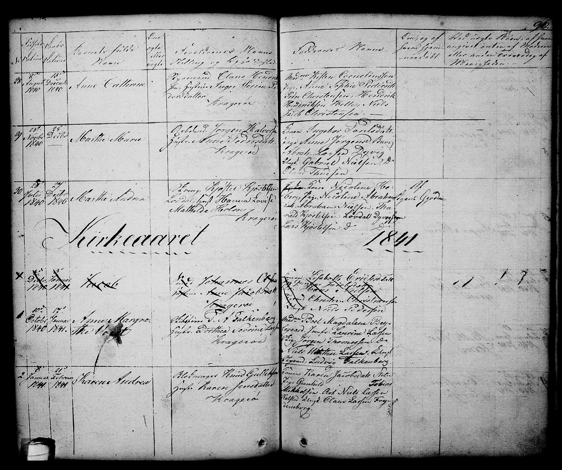 SAKO, Kragerø kirkebøker, G/Ga/L0003: Klokkerbok nr. 3, 1832-1852, s. 96