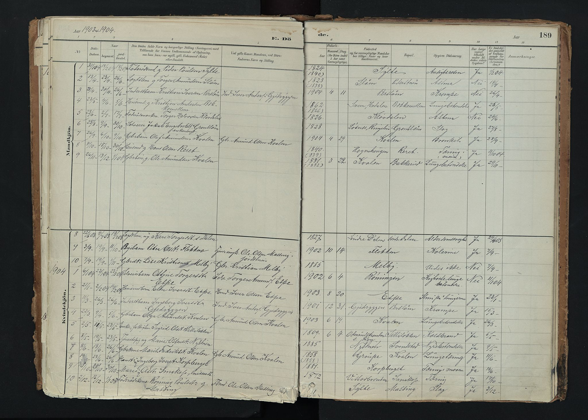 SAH, Nord-Fron prestekontor, Ministerialbok nr. 5, 1884-1914, s. 189