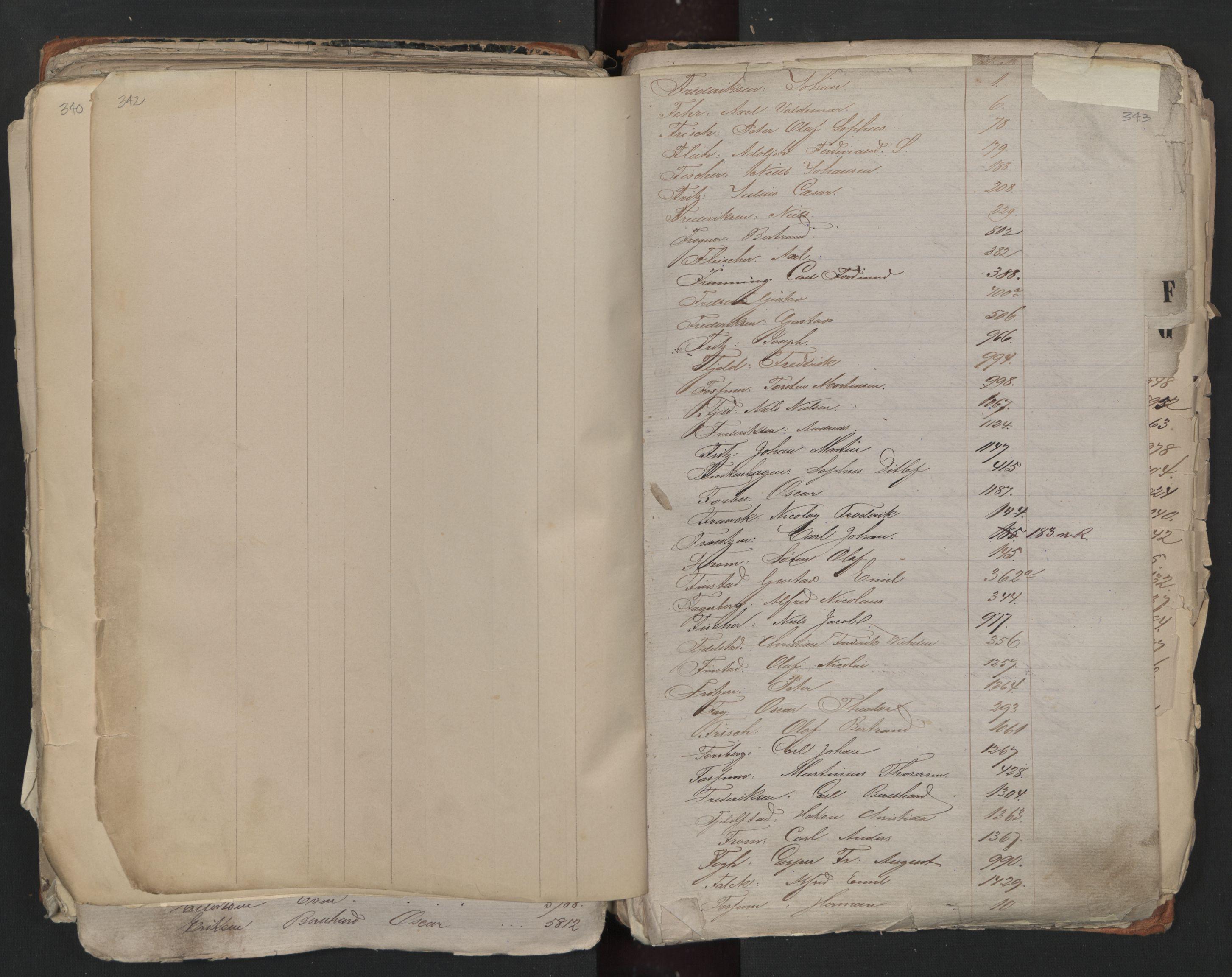 SAO, Oslo sjømannskontor, F/Fa/L0001: Register for Kristiania krets, 1866-1891, s. 342-343