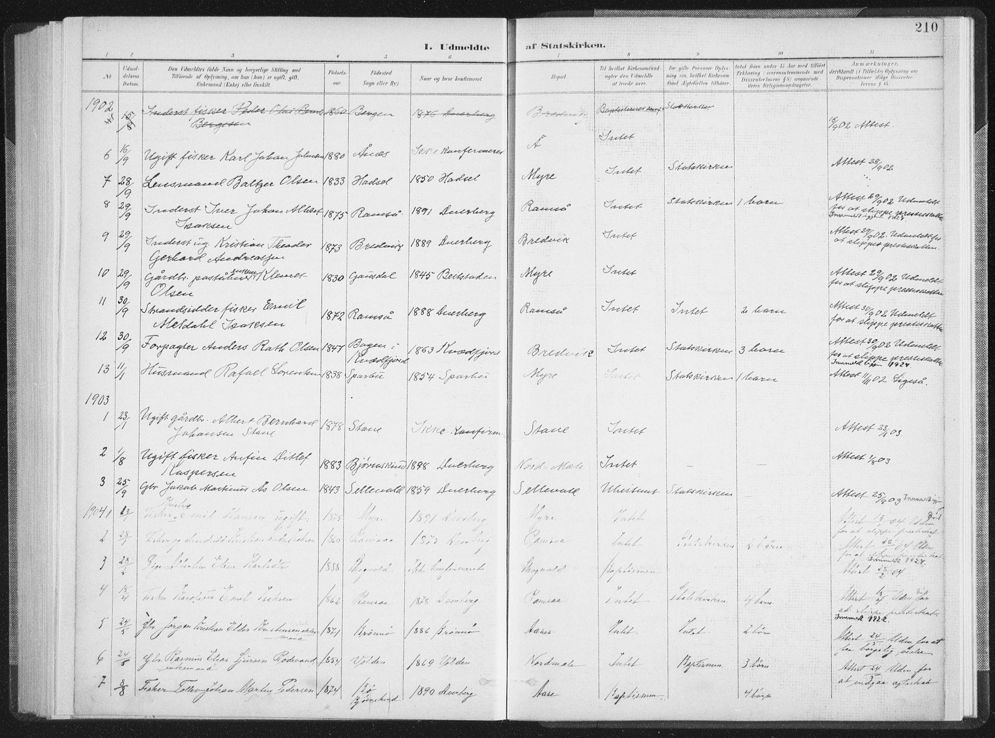 SAT, Ministerialprotokoller, klokkerbøker og fødselsregistre - Nordland, 897/L1400: Ministerialbok nr. 897A07, 1897-1908, s. 210
