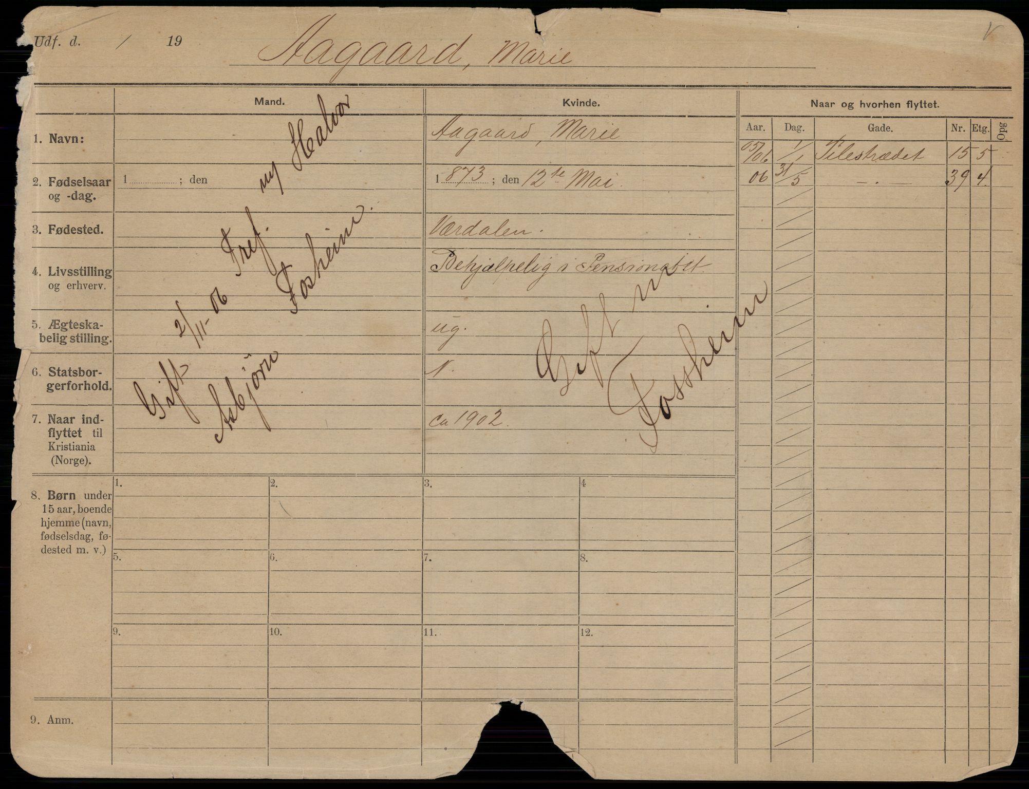 SAO, Oslo folkeregister, Registerkort, K/Kb/L0001: A - J, 1906