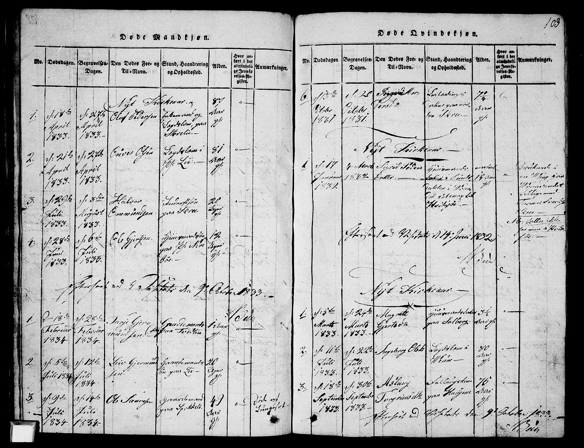 SAKO, Fyresdal kirkebøker, G/Ga/L0003: Klokkerbok nr. I 3, 1815-1863, s. 103